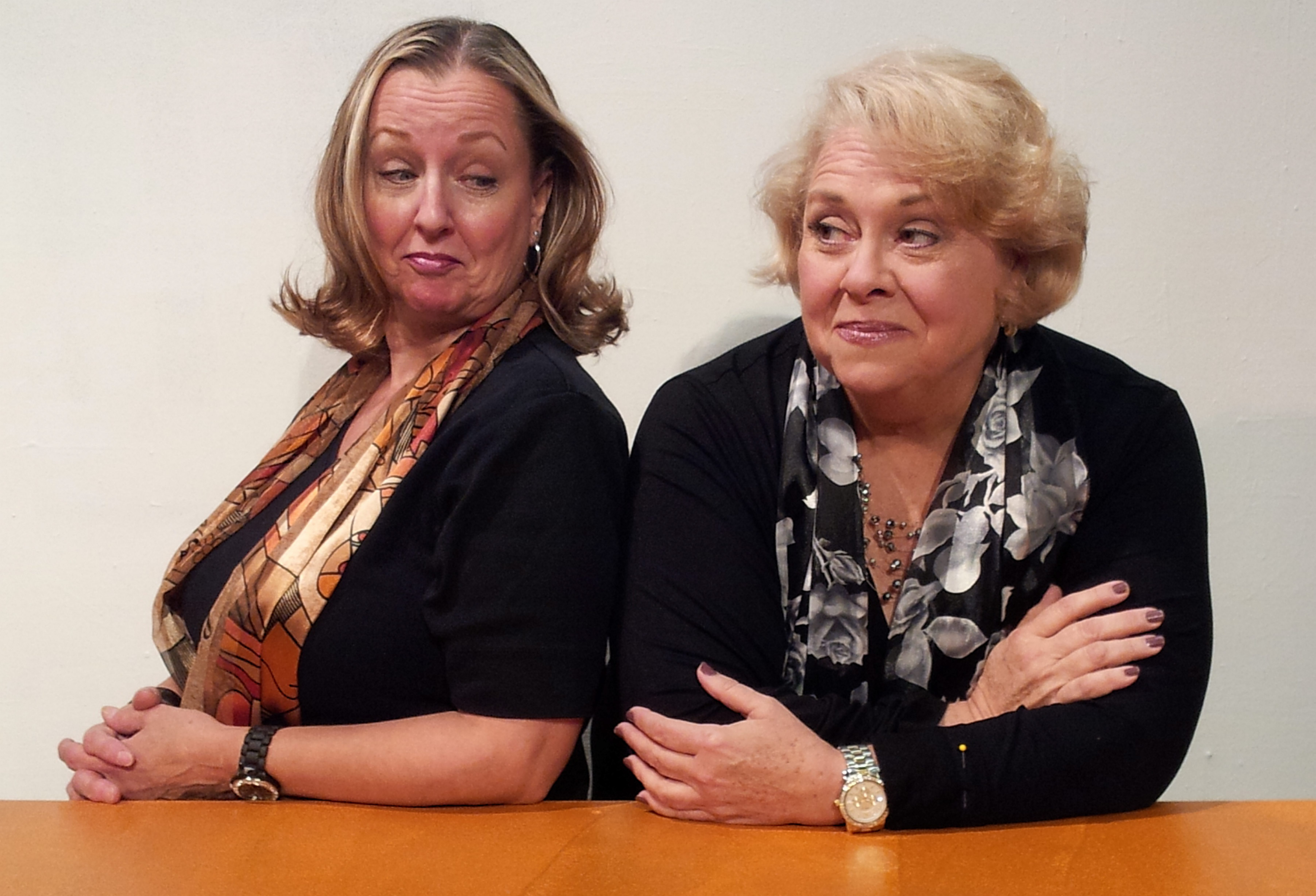 "Pamela Rose Mangus and Mary Kate O'Connell star in ""The Kathy & Mo Show: Parallel Lives/The Dark Side"" at the Park School of Buffalo through Oct. 20."