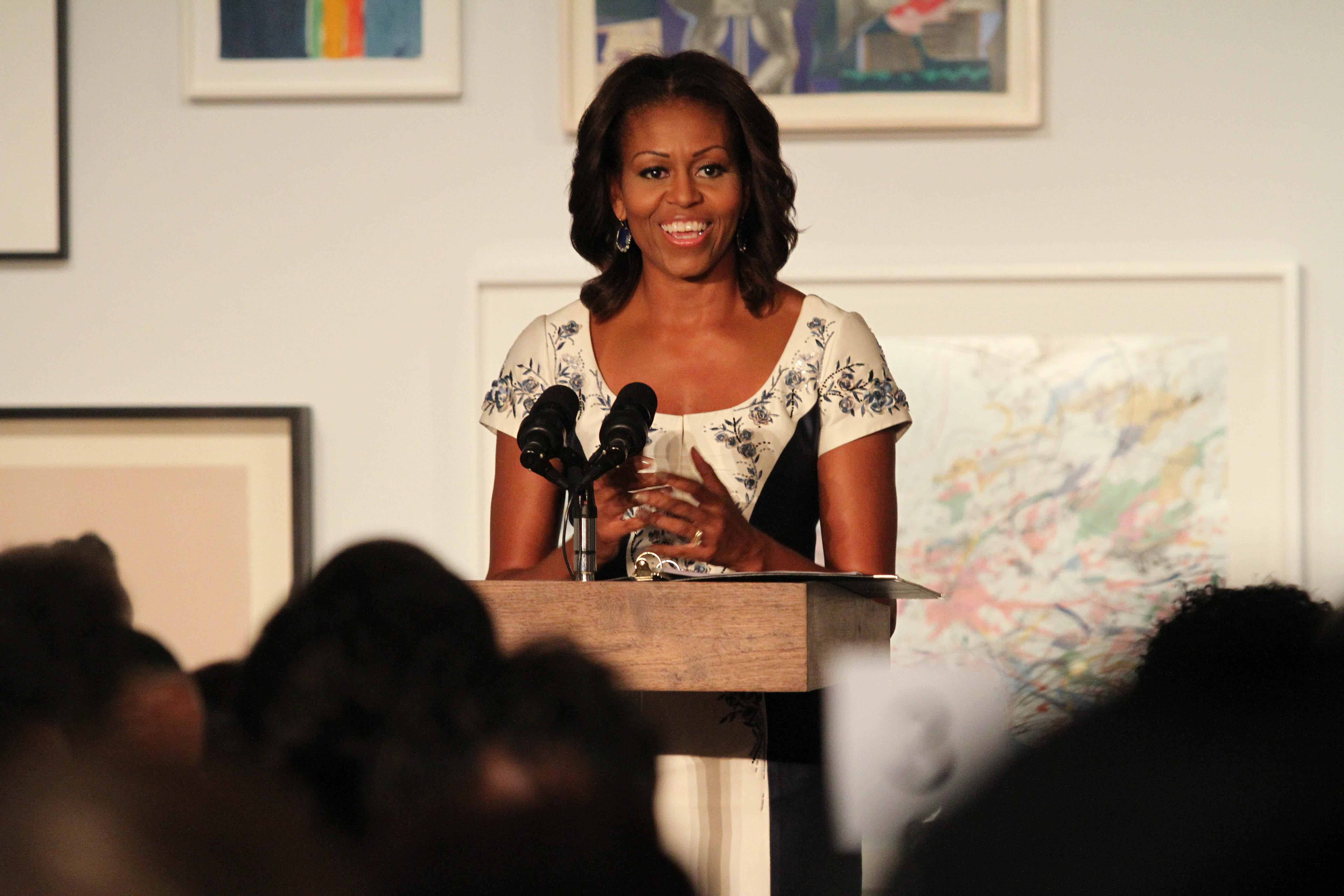 U.S. first lady Michelle Obama speaks during a luncheon at The Studio Museum of Harlem on Tuesday.