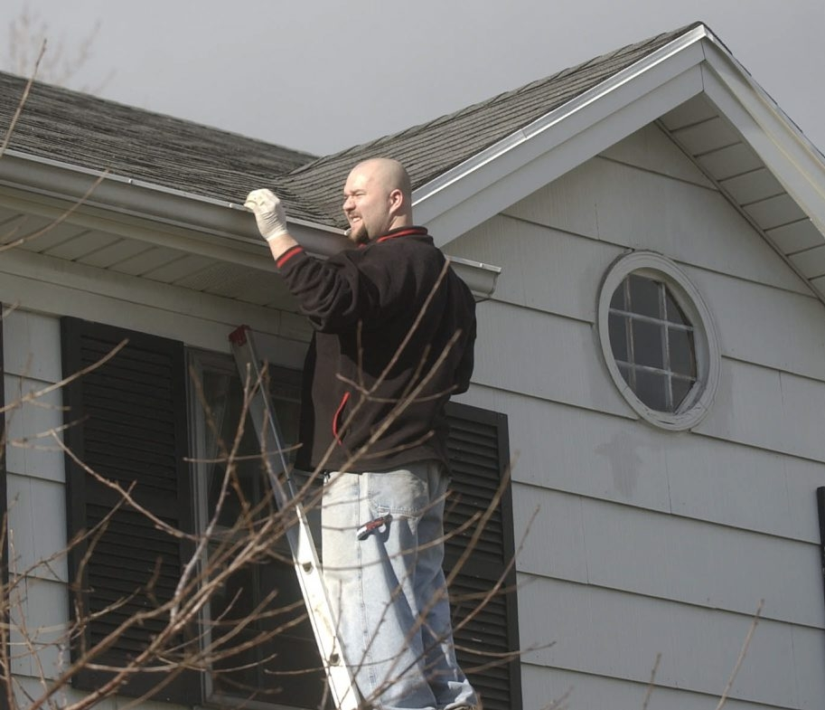 It's a good idea to clear your gutters at least twice a year, especially after the leaves come off the trees in the fall.