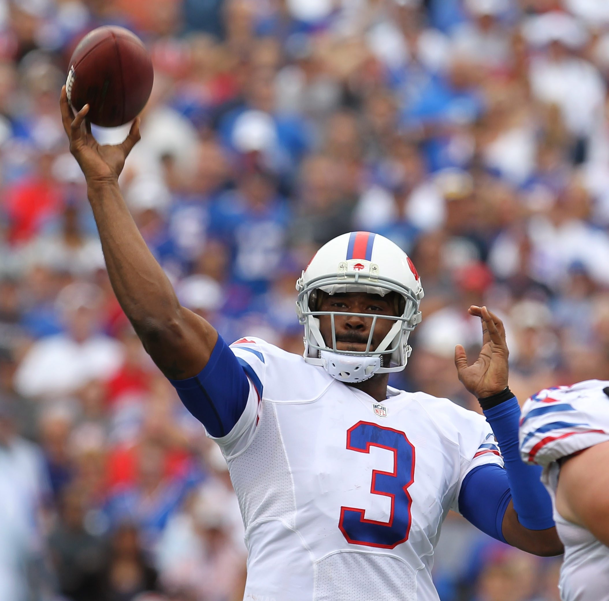 EJ Manuel will likely face lots of blitzes from the Jets defense in his first road start.  (Mark Mulville/Buffalo News)