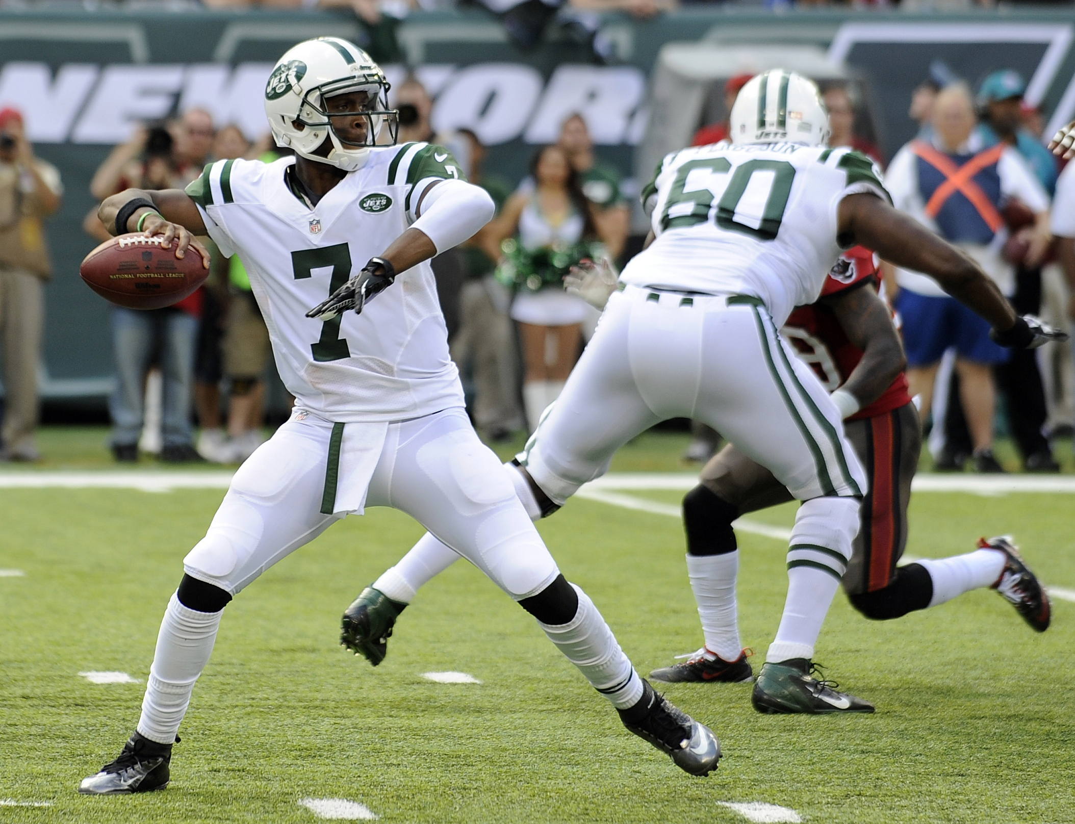 Jets rookie quarterback Geno Smith struggled against the Patriots when facing a four-man rush during last week's loss. (Associated Press)