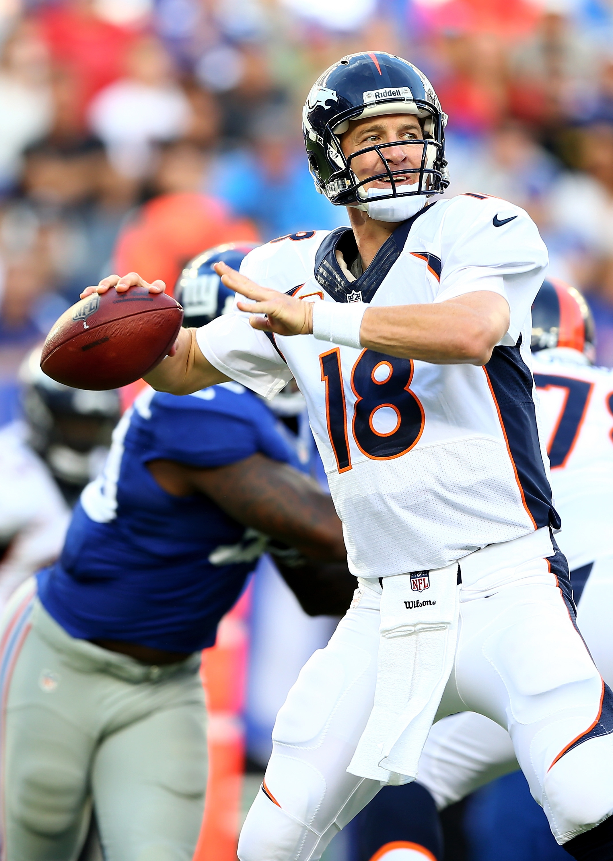Peyton Manning leads the Broncos into Monday night's clash with the Raiders, the 17th time the teams will face each other on Monday Night Football.  (Photo by Elsa/Getty Images)