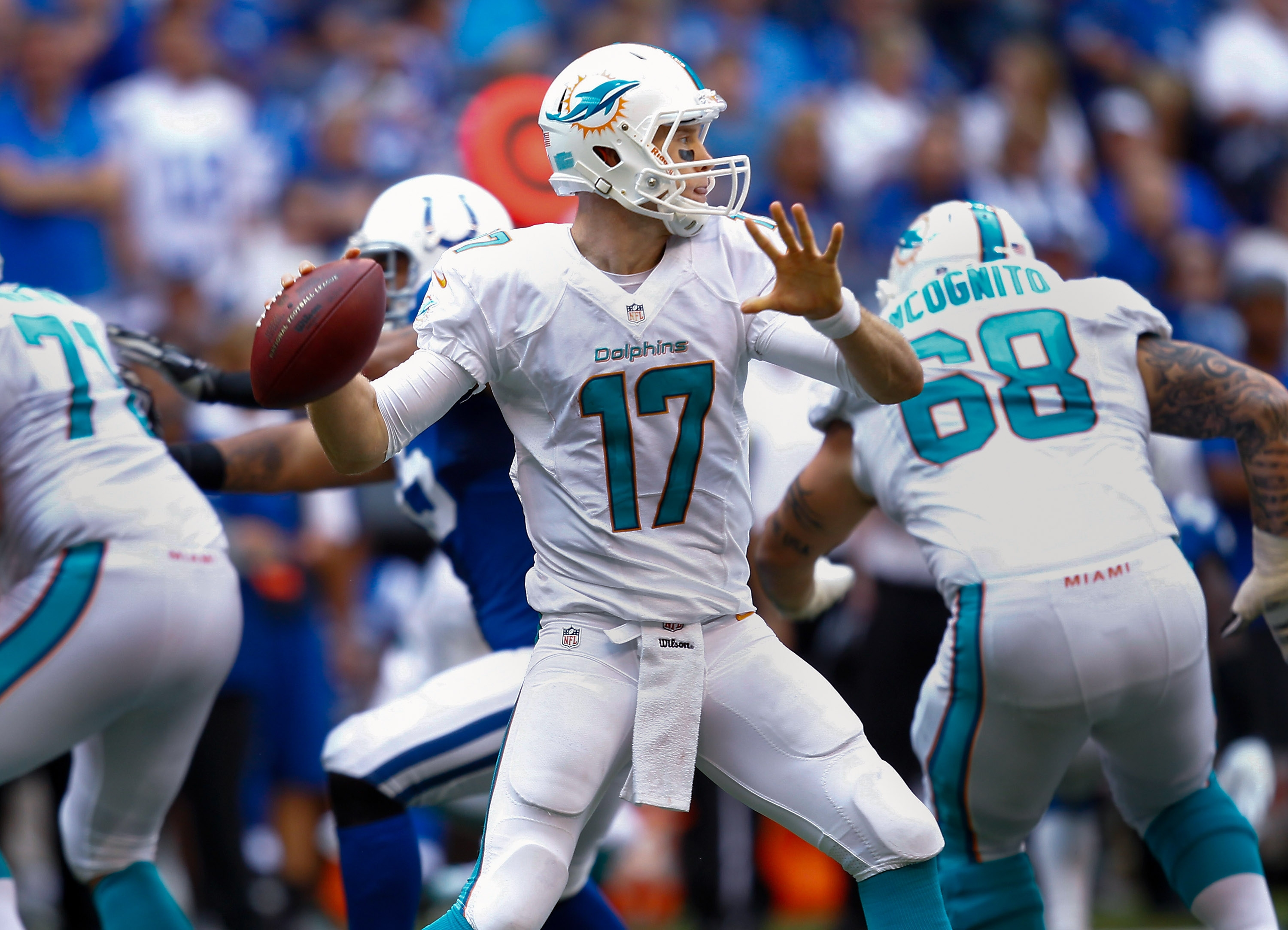 The home field hasn't been an advantage for Ryan Tannehill and the Dolphins. (Getty Images)