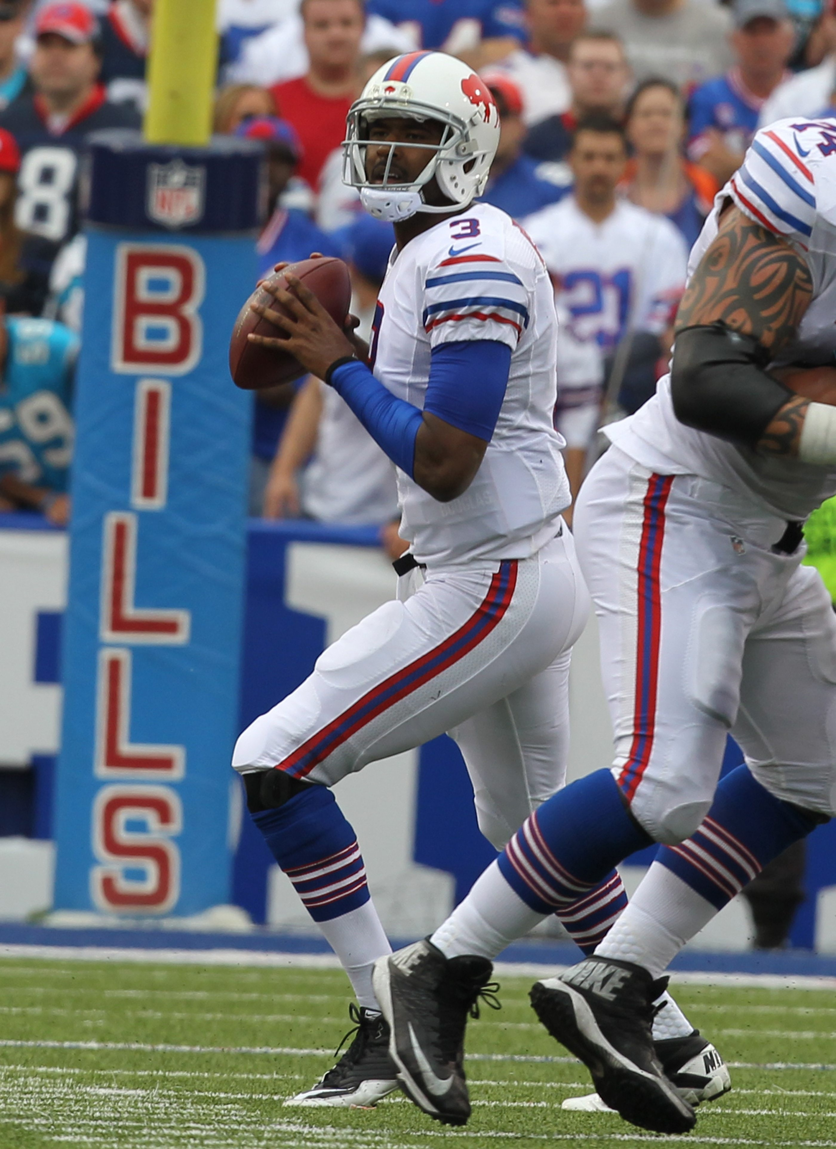 EJ Manuel's ability to throw downfield will be tested against the Jets.