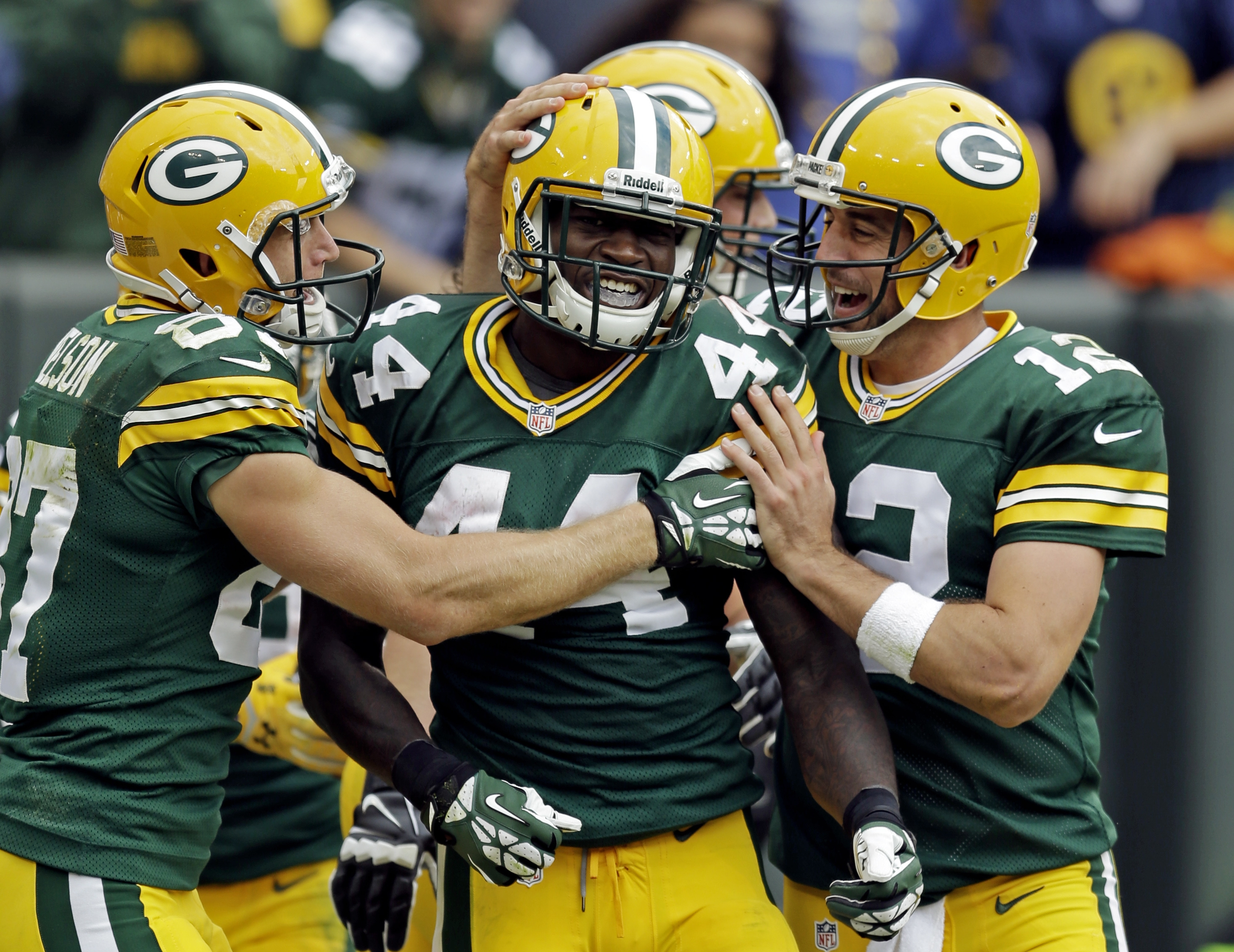 James Starks (44) earned another start with Green Bay after a strong game against Washington.