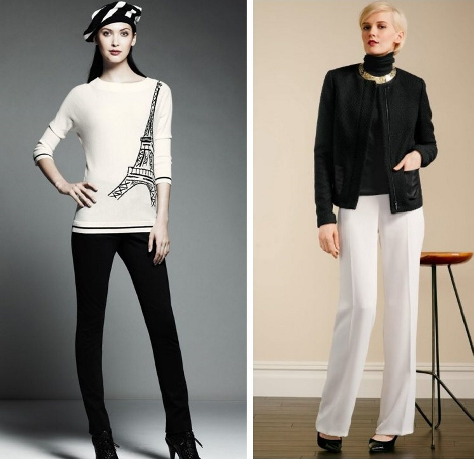 Two black and white looks for fall from Catherine Malandrino for DesigNation coming to Kohl's, left, and from Talbots.