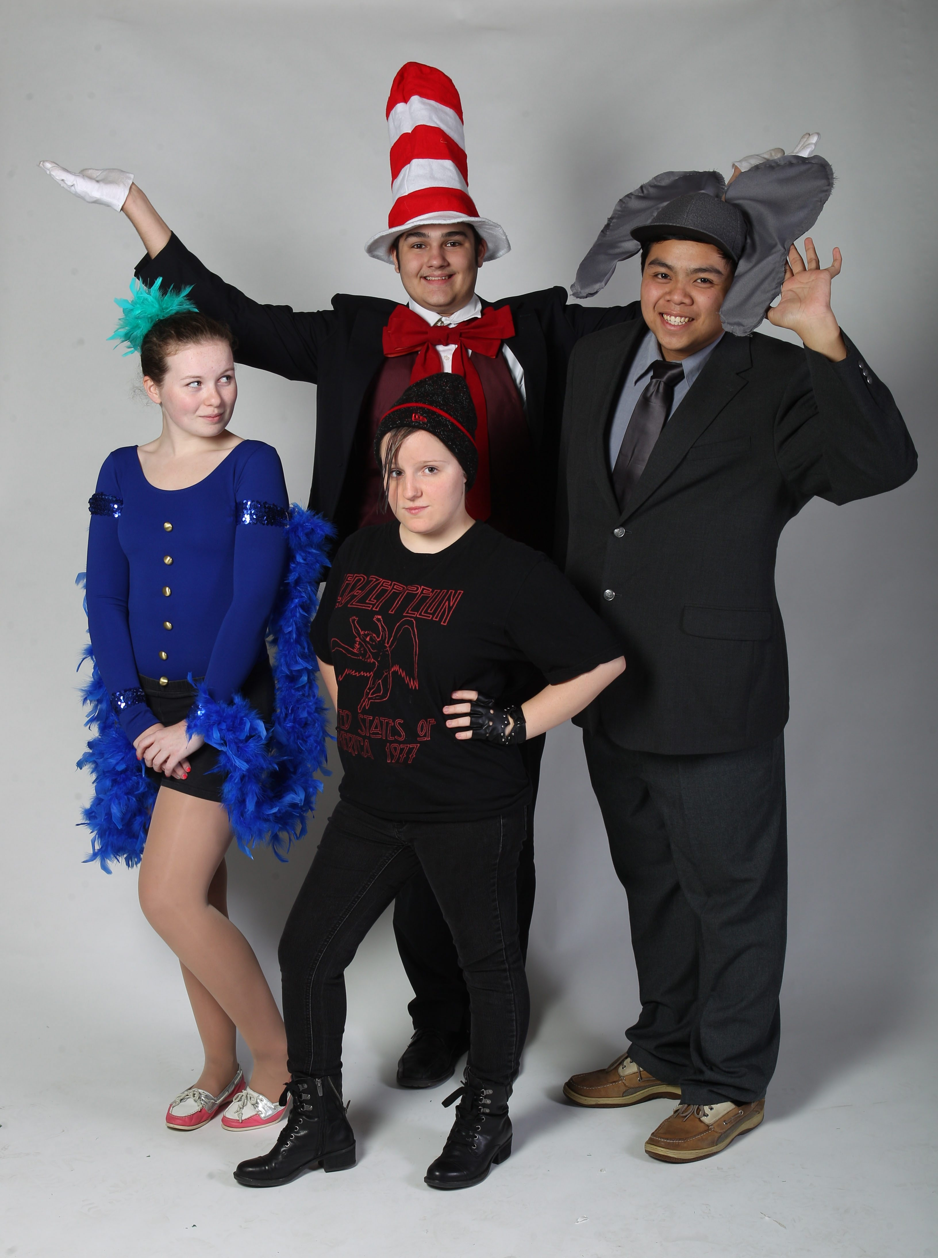 Bishop Timon-St. Jude High School is presenting 'Seussical,'  November 1-3 at 601 McKinley Parkway in Buffalo.  Cast members posed for a photo, Thursday, Oct. 24, 2013.From left are Emma English as Gertrude, Simona Lukasik as JoJo, Tim Keane as Cat in the Hat (behind) and Jon Nguyen as Horton.  (Sharon Cantillon/Buffalo News)