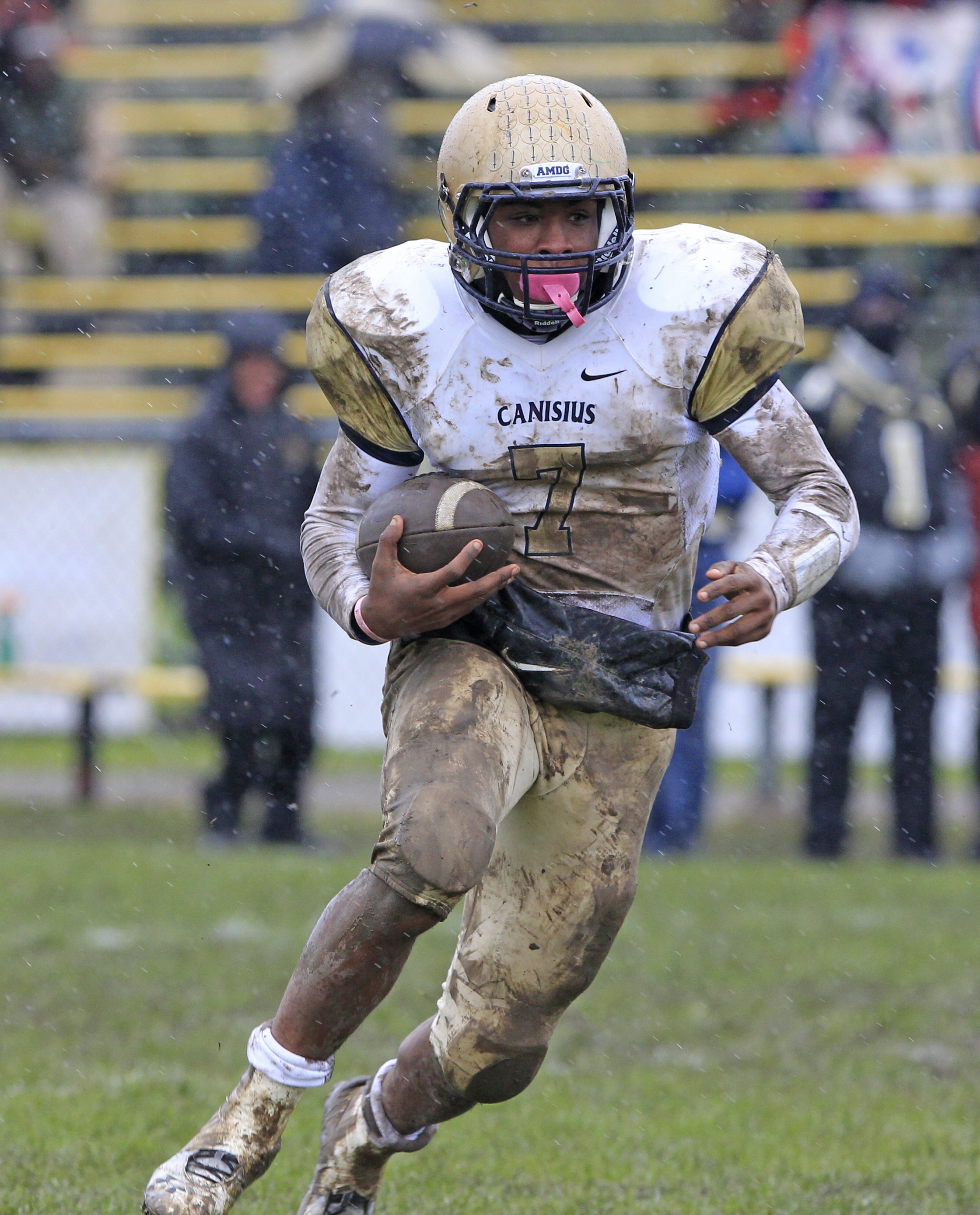 The rivalry between standout running backs Qadree Ollison of Canisius, left, and Nigel Davis of St. Joe's, right, predates their high school careers.
