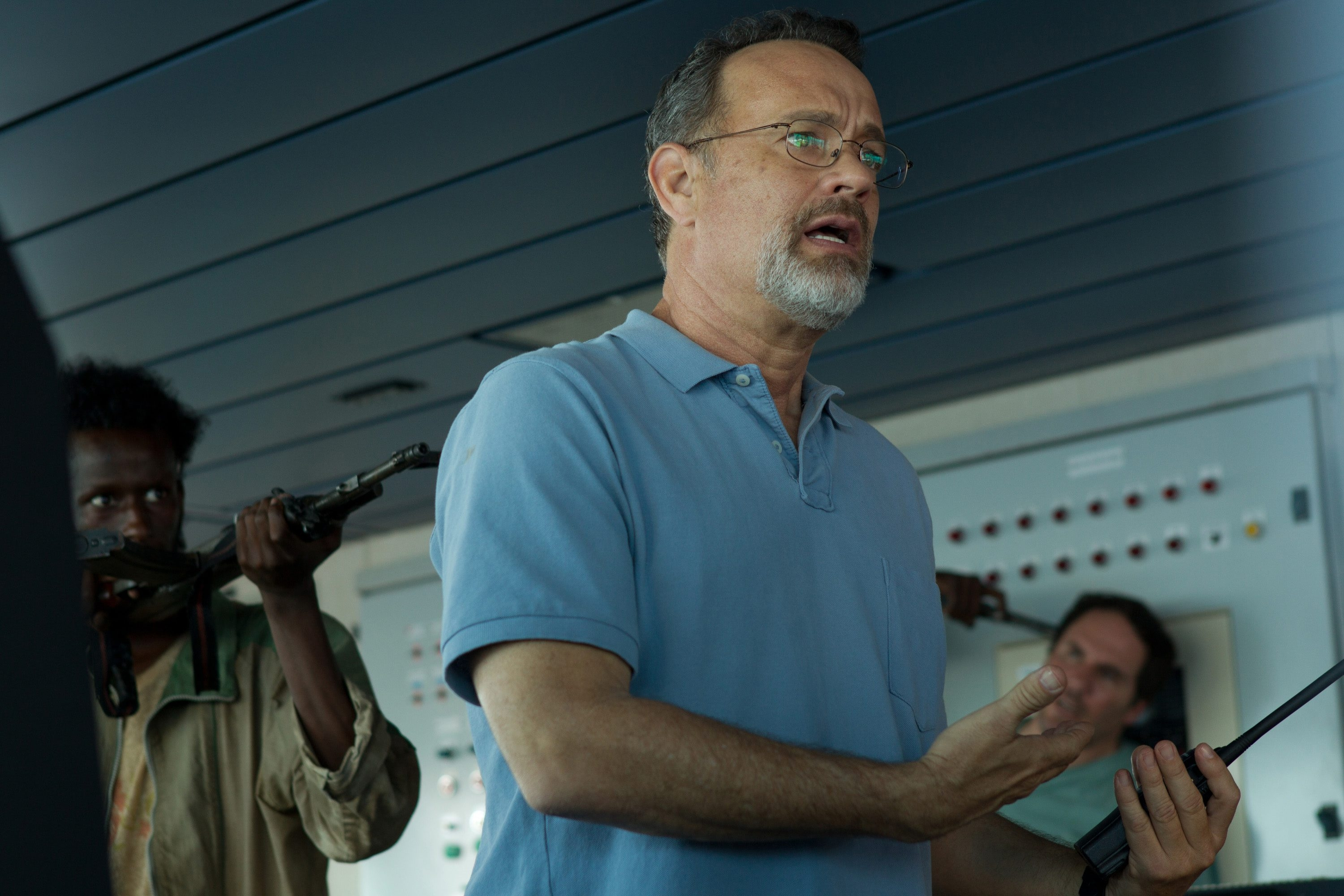 """Tom Hanks stars in Columbia Pictures' """"Captain Phillips."""" Jeff Simon: """"The film ends with a few startling moments by Hanks that are all but unique in our movies."""""""