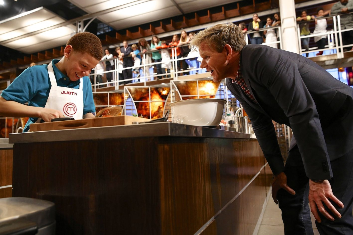 """""""MasterChef Junior"""" competitor Justin gets a close inspection from show judge Gordon Ramsay."""