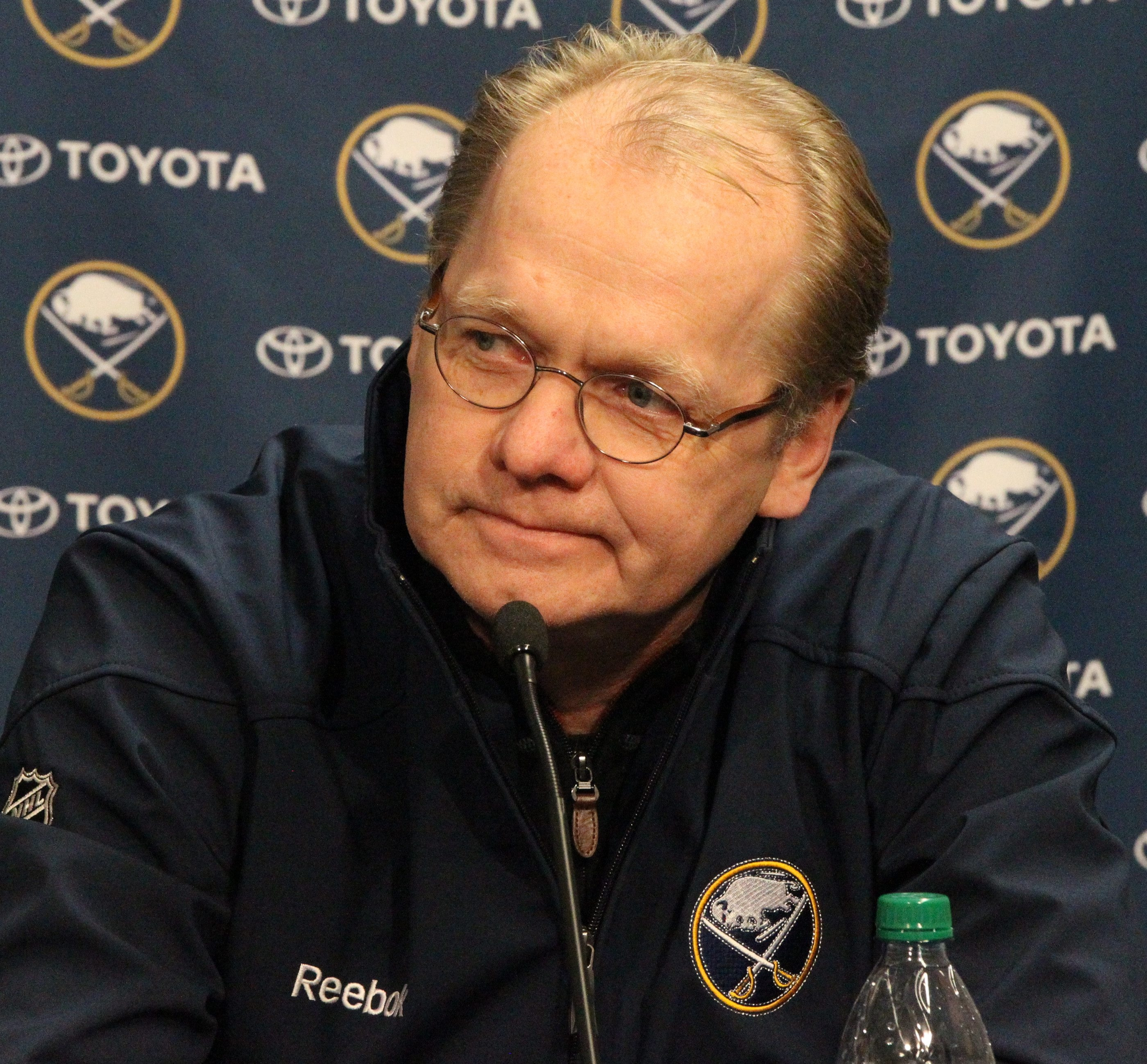 {McCoy Sports Sabres}Ted Black and Darcy Regier held a press conference to discuss the end of the NHL lockout  at the First Niagara Center on Tuesday, Jan. 8, 2013.  {Photo by James P. McCoy / Buffalo News}