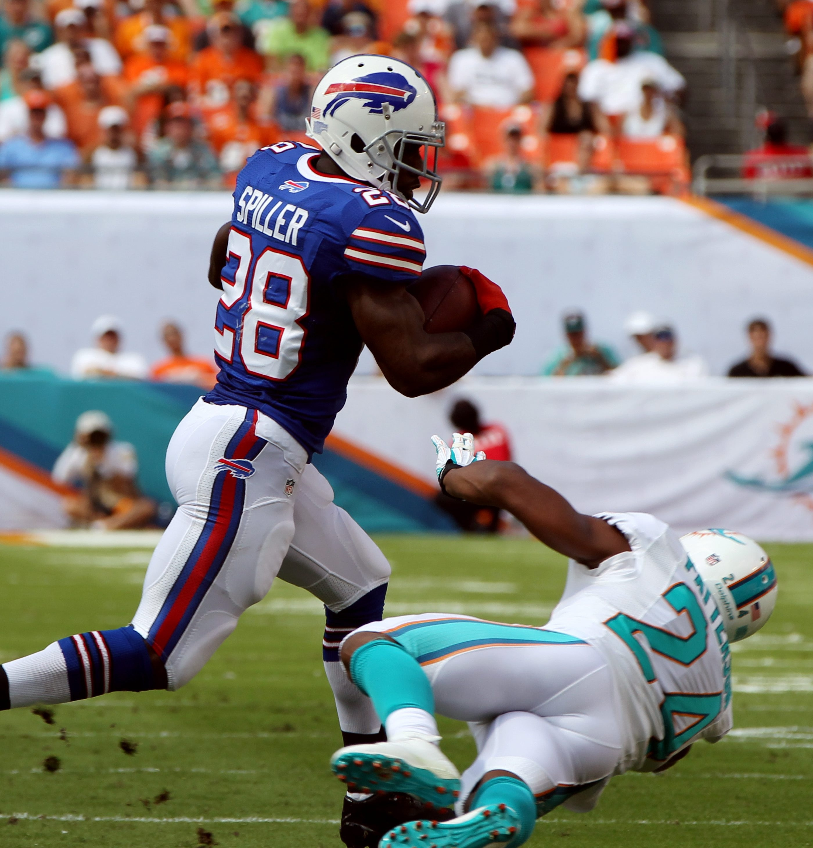 Buffalo Bills running back C.J. Spiller (28) will probably not face the New Orleans Saints on Sunday due to a sore ankle.
