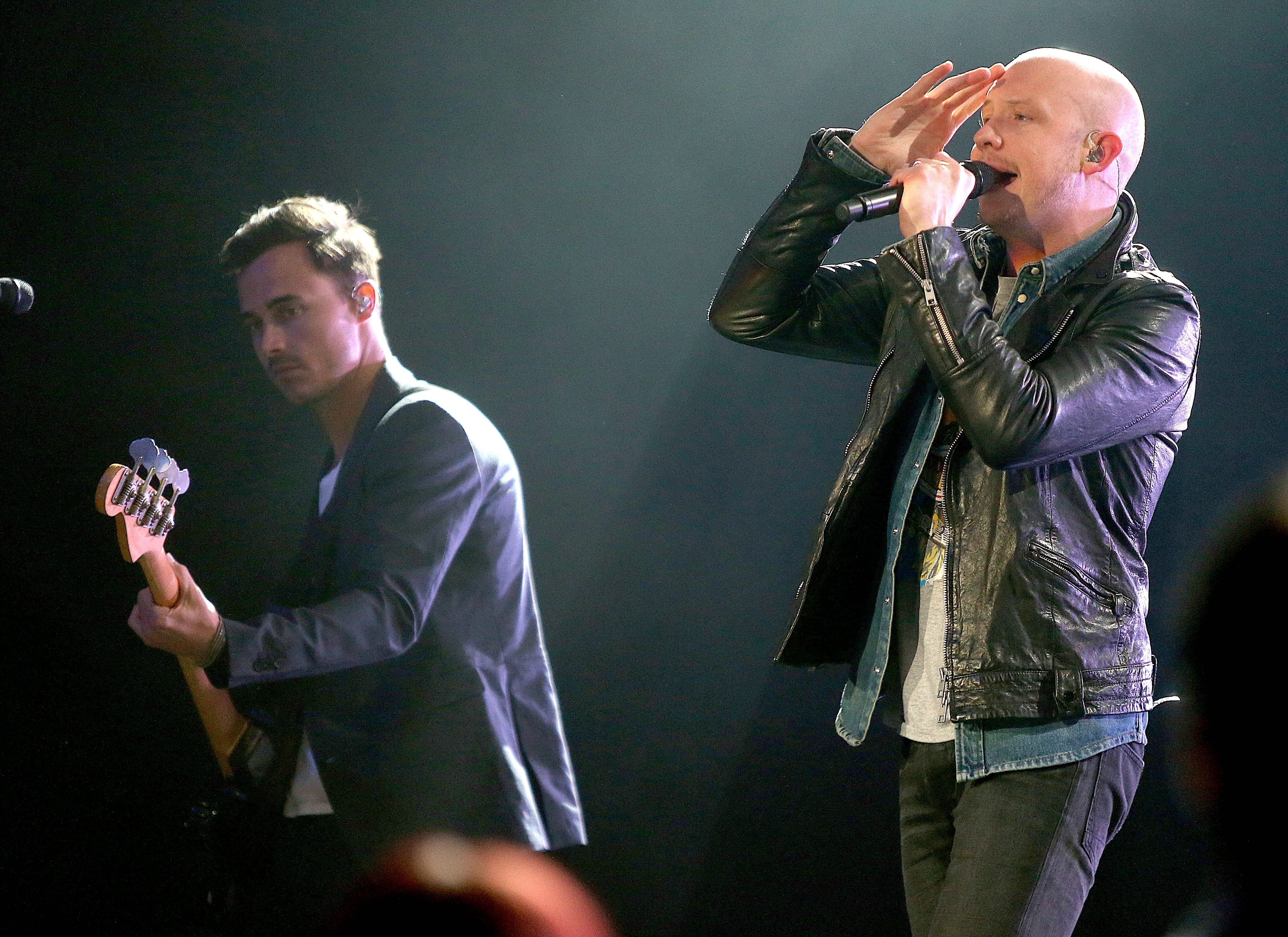 Lead singer Isaac Slade, right, performing with the Fray at Seneca Niagara Casino Events Center on Oct. 25.
