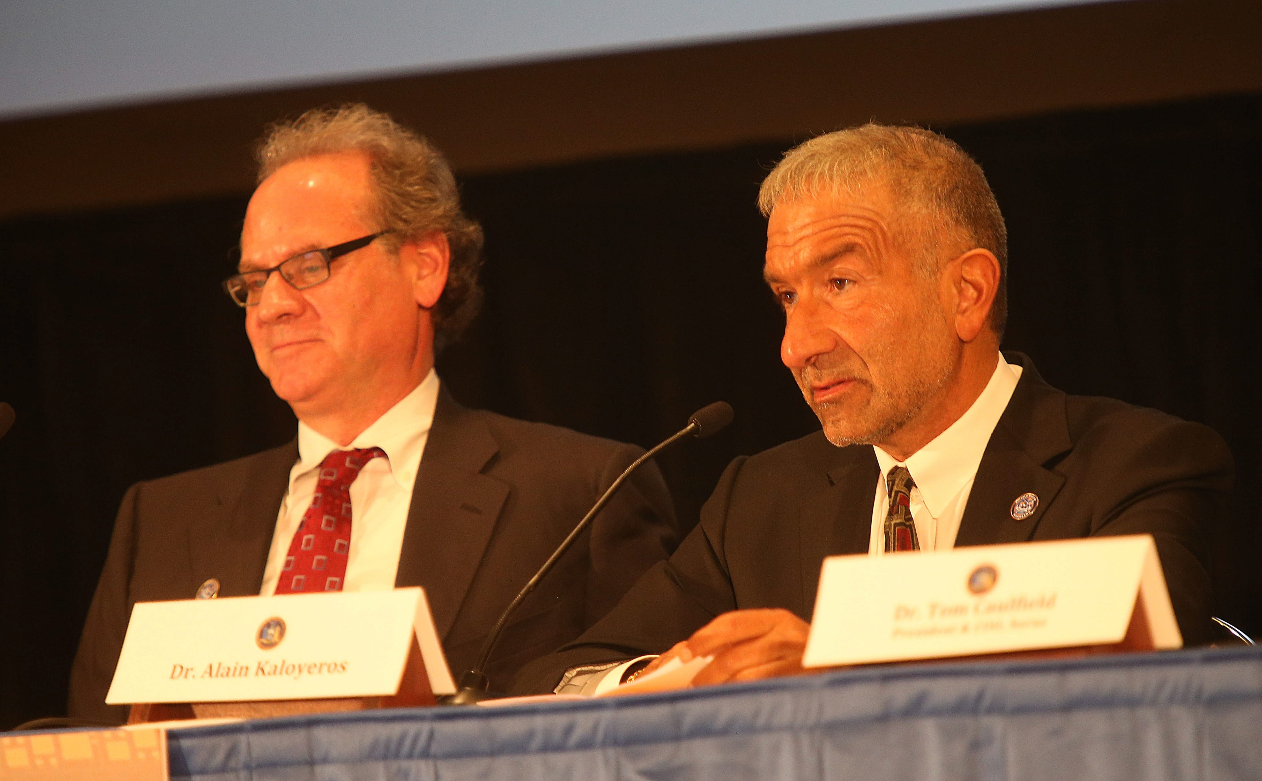 Alain Kaloyeros, right, and Howard A. Zemsky, co-chairman of the Western New York Regional Economic Development Council, were speakers at Adam's Mark Hotel to unveil the planned Buffalo High-Tech Manufacturing Innovation Hub @ RiverBend. Kaloyeros, CEO of the SUNY College of Nanoscale Science and Engineering in Albany, is at the center of the project.