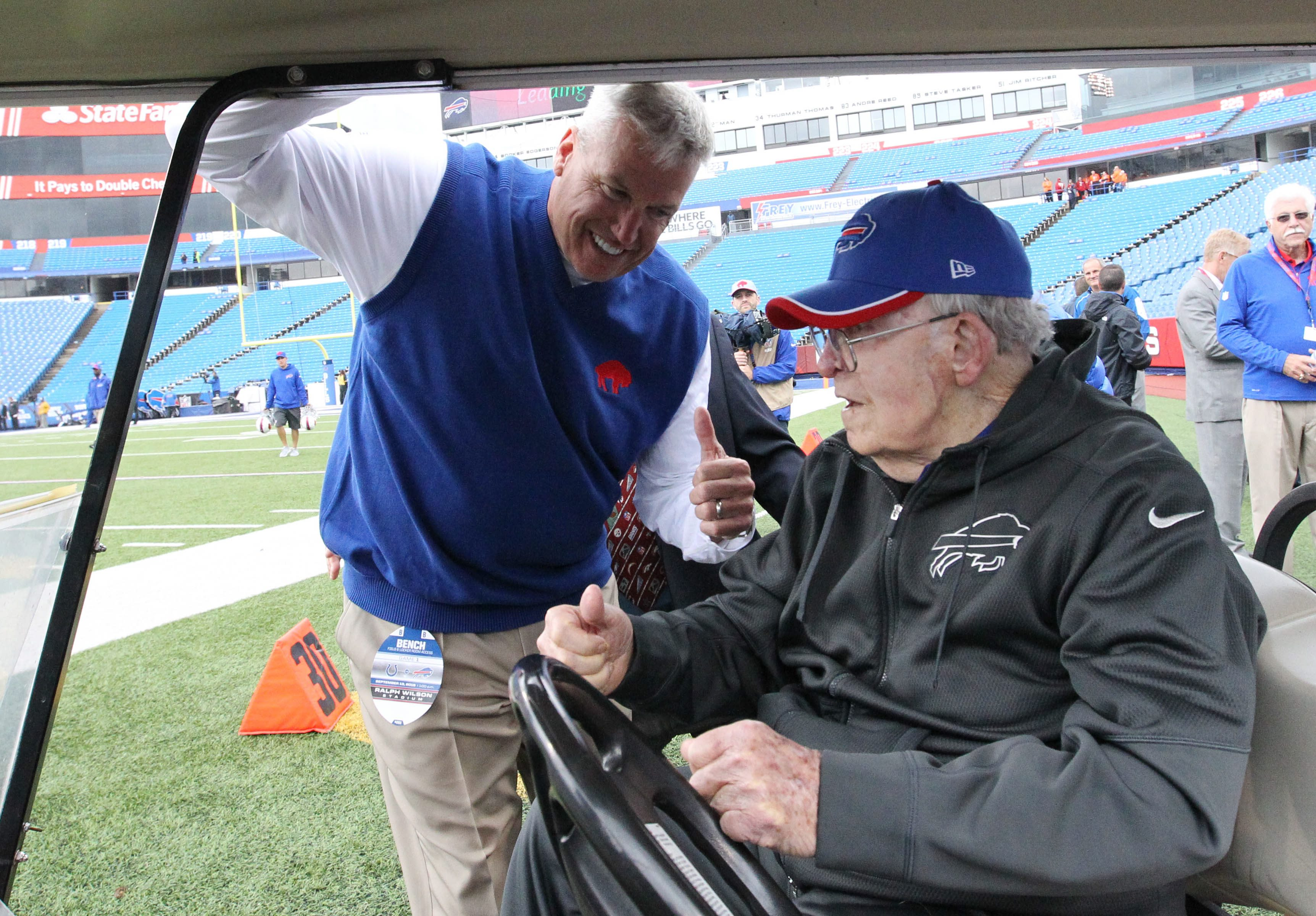 Buffalo Bills head coach Rex Ryan and his father, Buddy Ryan, before the game at Ralph Wilson Stadium in Orchard Park, N.Y. on Sunday, Sept. 13, 2015.  (James P. McCoy/ Buffalo News)