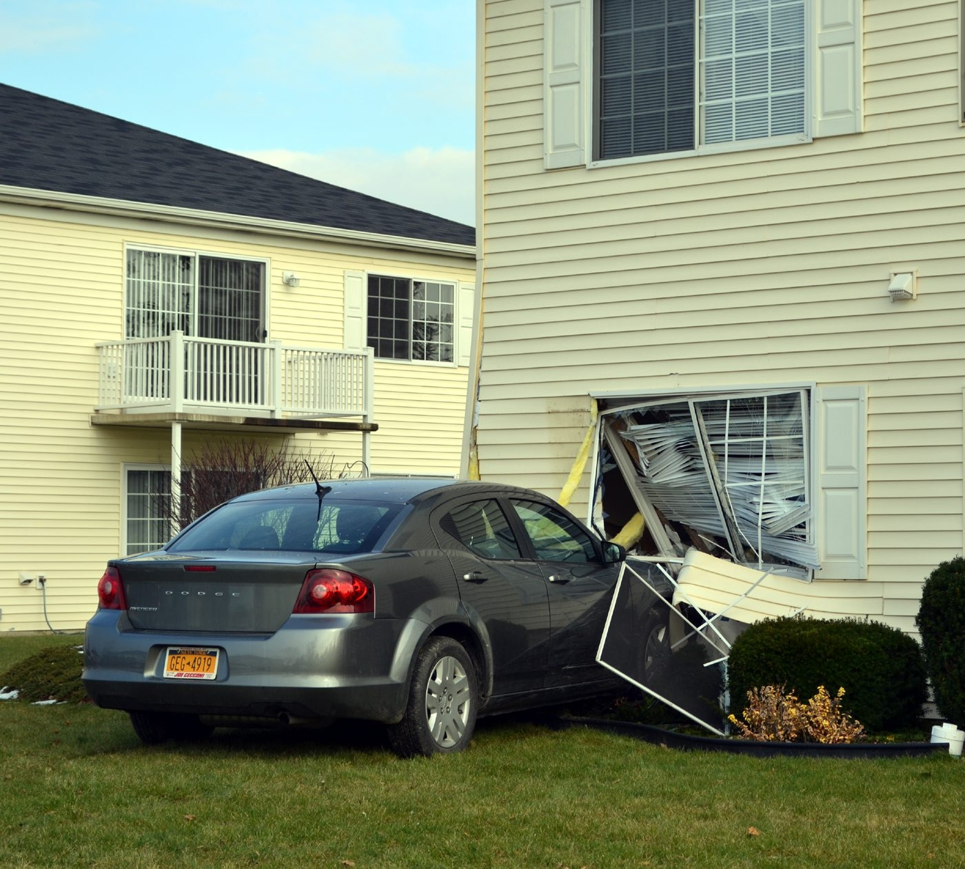 Niagara Falls condemned this apartment in the Vincent Morello Senior Housing complex after an 84-year-old woman drove her 2013 Dodge Avenger into it Wednesday.