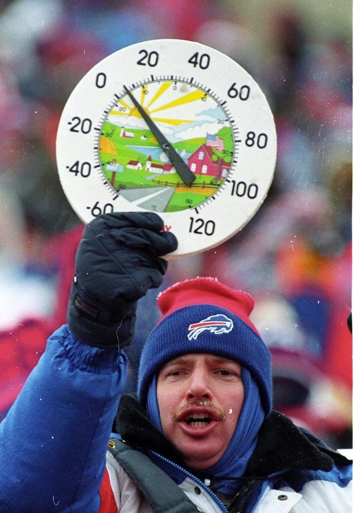 A fan displays a thermometer in frigid conditions at Rich Stadium. (Buffalo News file photo)