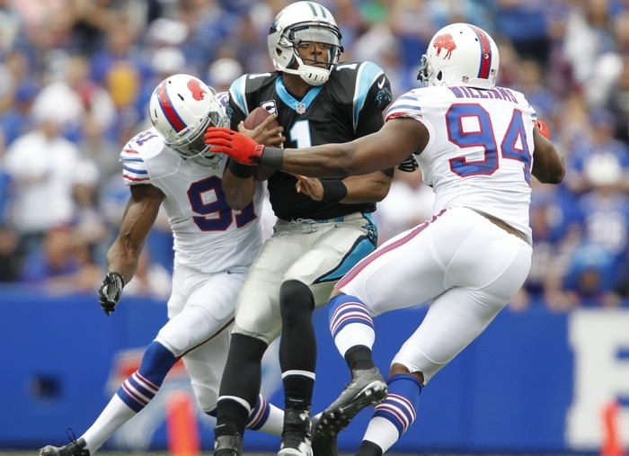 Cam Newton playing for the Bills instead of being sacked by them? (Harry Scull Jr./Buffalo News)