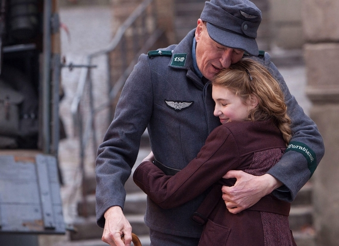 "Geoffrey Rush and Sophie Nelisse in ""The Book Thief."""