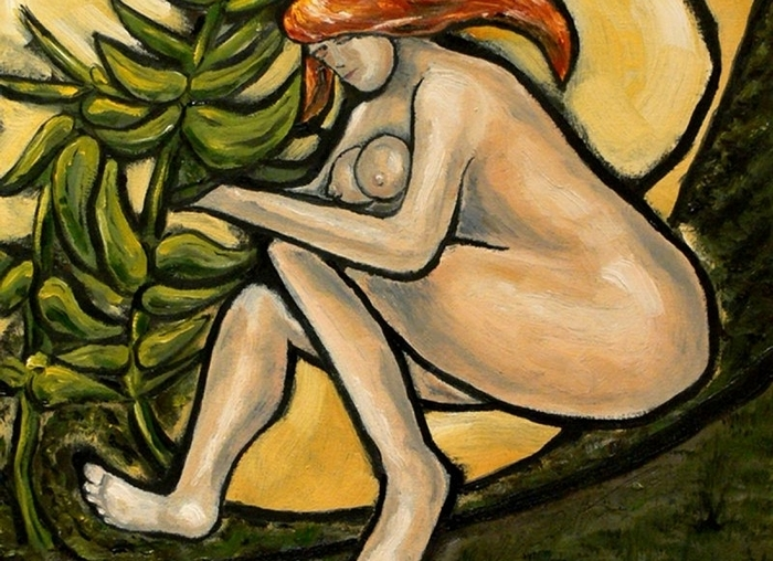 """""""Nude with Milkweed,"""" a painting by Chris Witvoet, is on view in the Holland JCC Art Gallery  as part of the JCC's 47th annual Book and Arts Fair."""