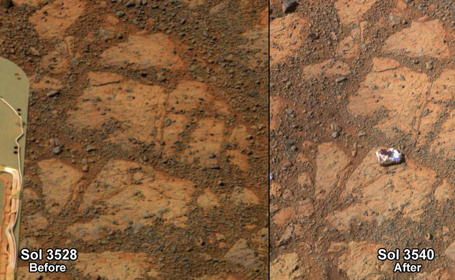 These two photos taken 13 days apart by NASA's  Mars rover show the arrival of a mysterious rock near the craft.