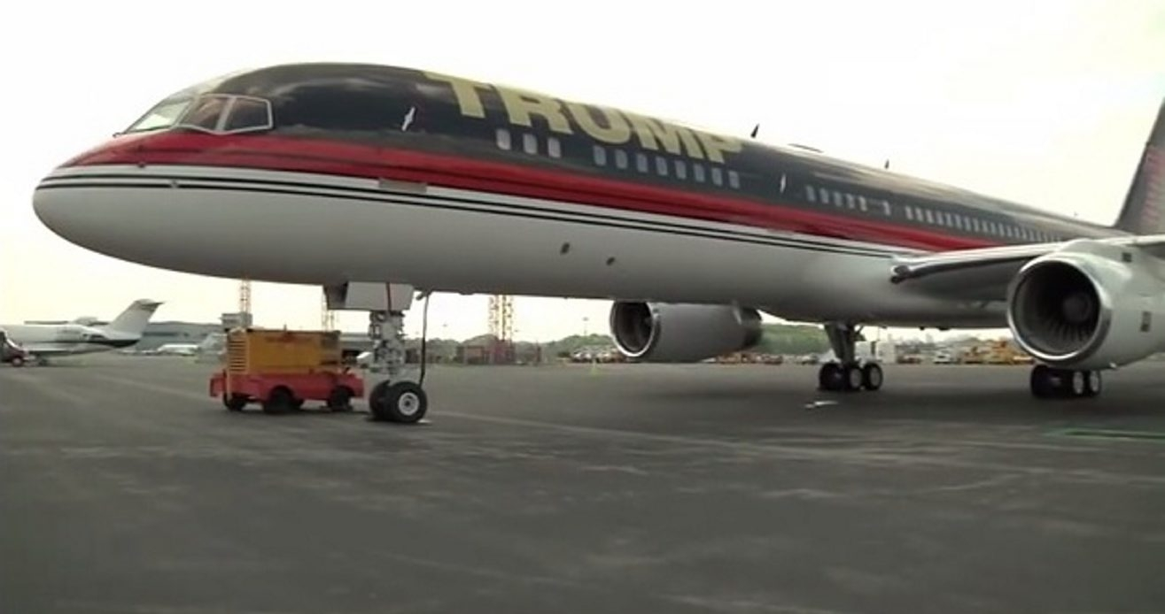 Exterior of Donald Trump's personal plane. Taken from a YouTube video Trump's assistant posted in August 2011.