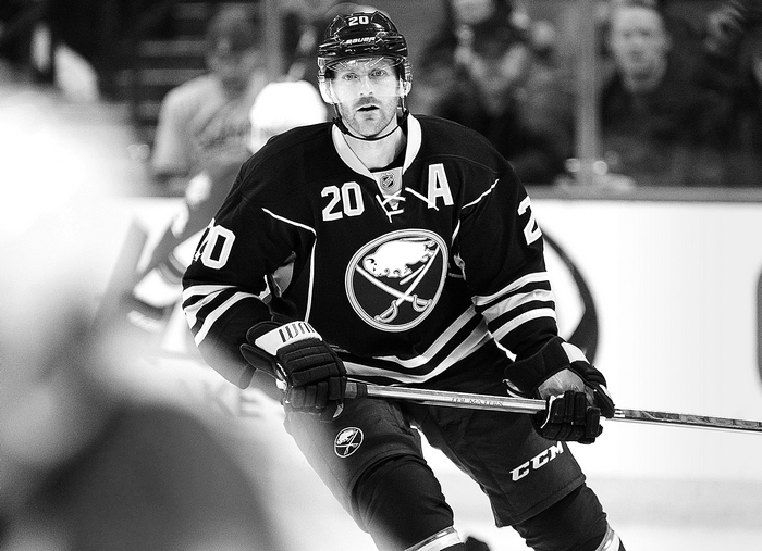 Sabres defenseman Henrik Tallinder returned to the lineup Tuesday after missing eight games with a broken finger suffered Dec. 29. (Harry Scull Jr./Buffalo News)
