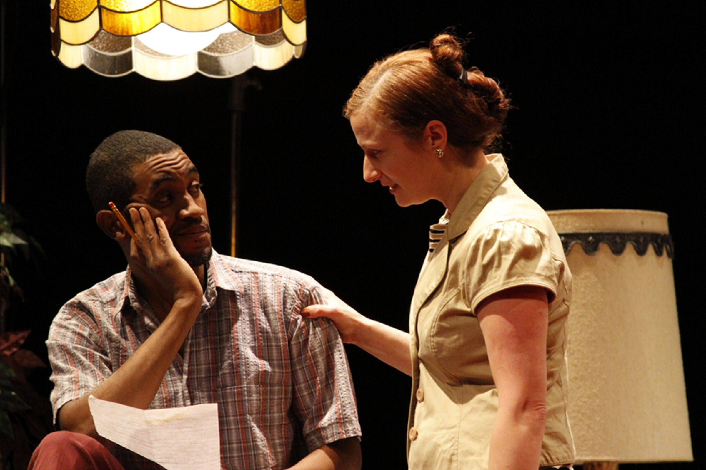 Greg Howze and Kristen Tripp-Kelley appear in Mark Witteveen's play 'Very Fine Use of a Grenade,' running through Feb. 16 in the  Road Less Traveled Theatre.
