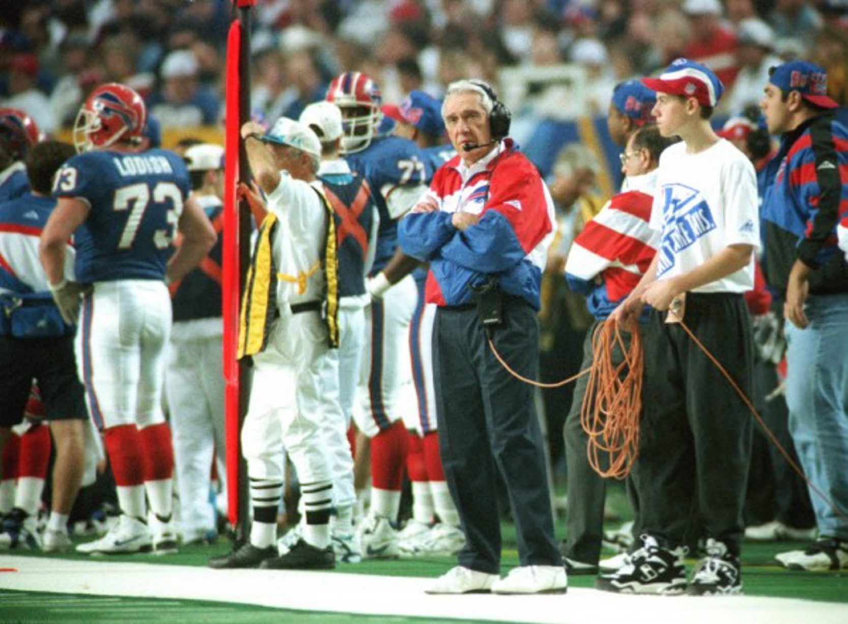 Marv Levy's Bills dropped their fourth straight Super Bowl on this day 20 years ago in Atlanta. (Associated Press)