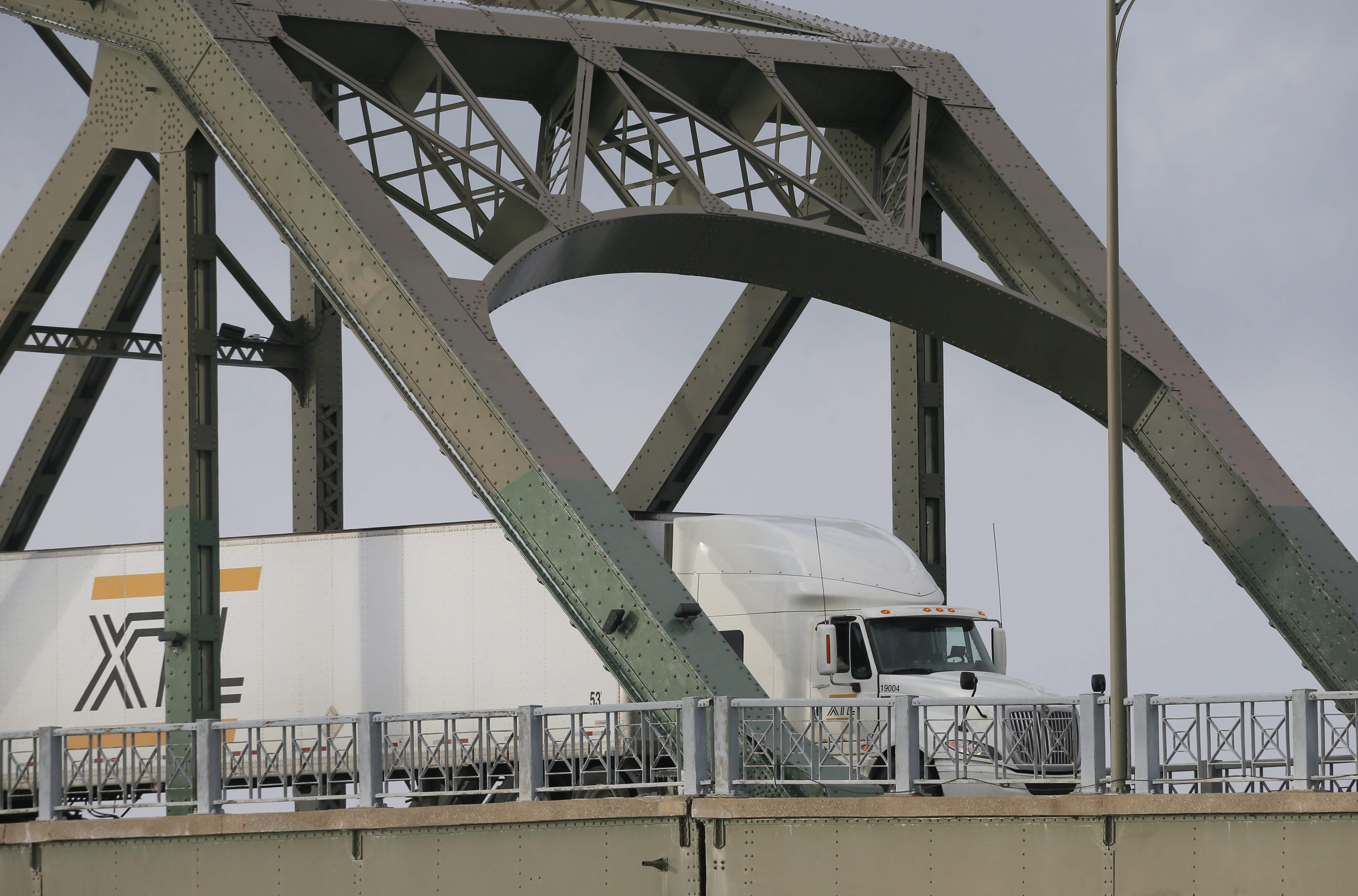 Commercial truck traffic at the Peace Bridge in Buffalo, Tuesday, Jan. 21, 2014.  Photo by Derek Gee