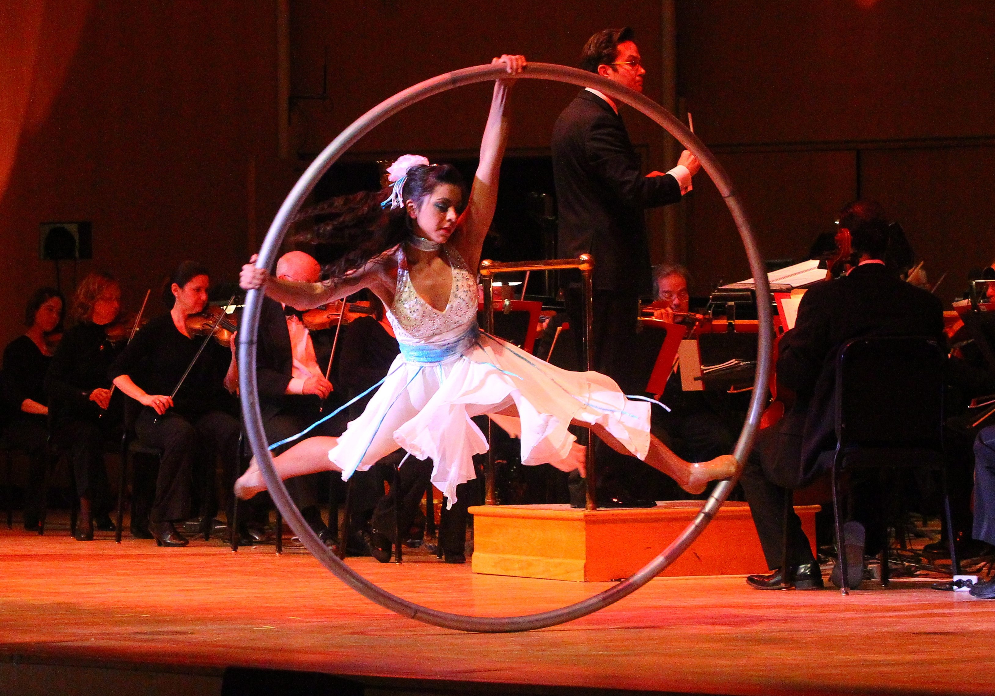"""One of the """"Cirque Musica"""" performers thrills the crowd at Saturday's Buffalo Philharmonic Orchestra concert."""