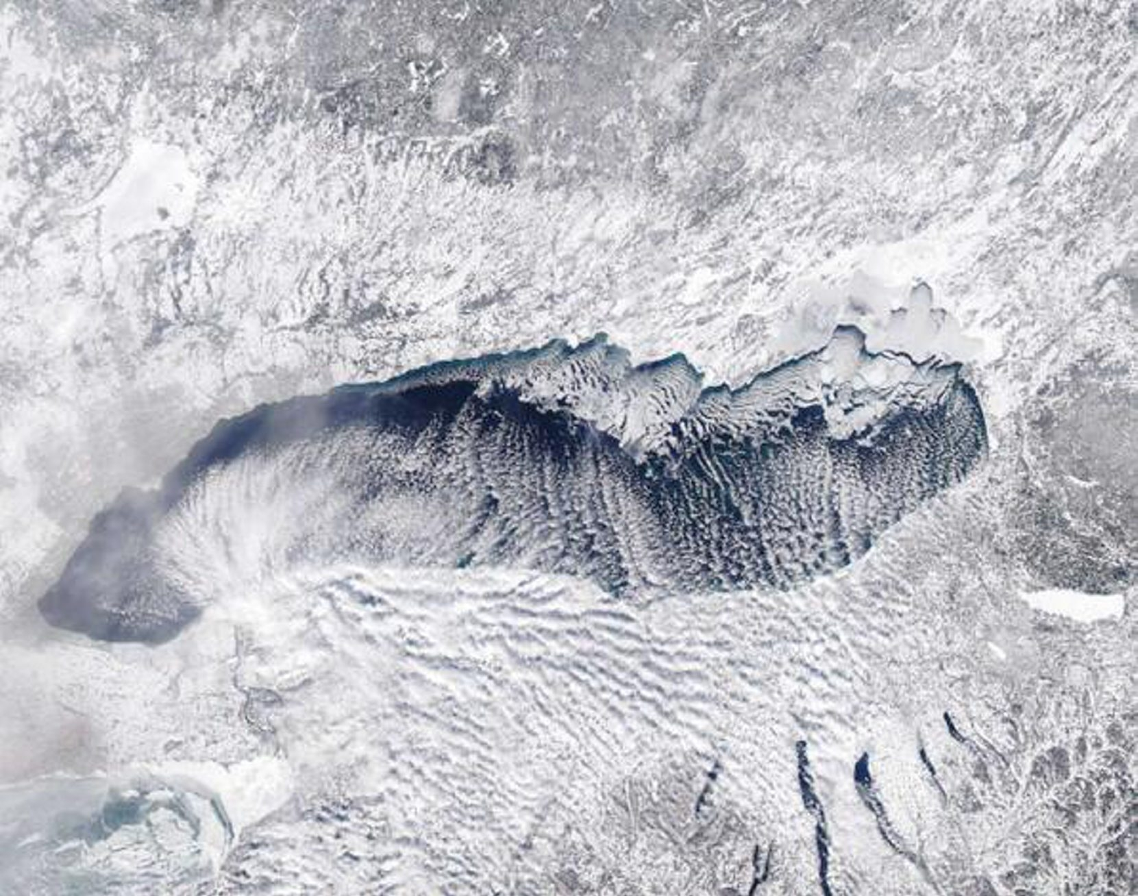 Satellite image of Lake Ontario from Wednesday, Jan. 22, shows lack of ice cover, which means a continued potential to fuel lake-effect snowstorms.