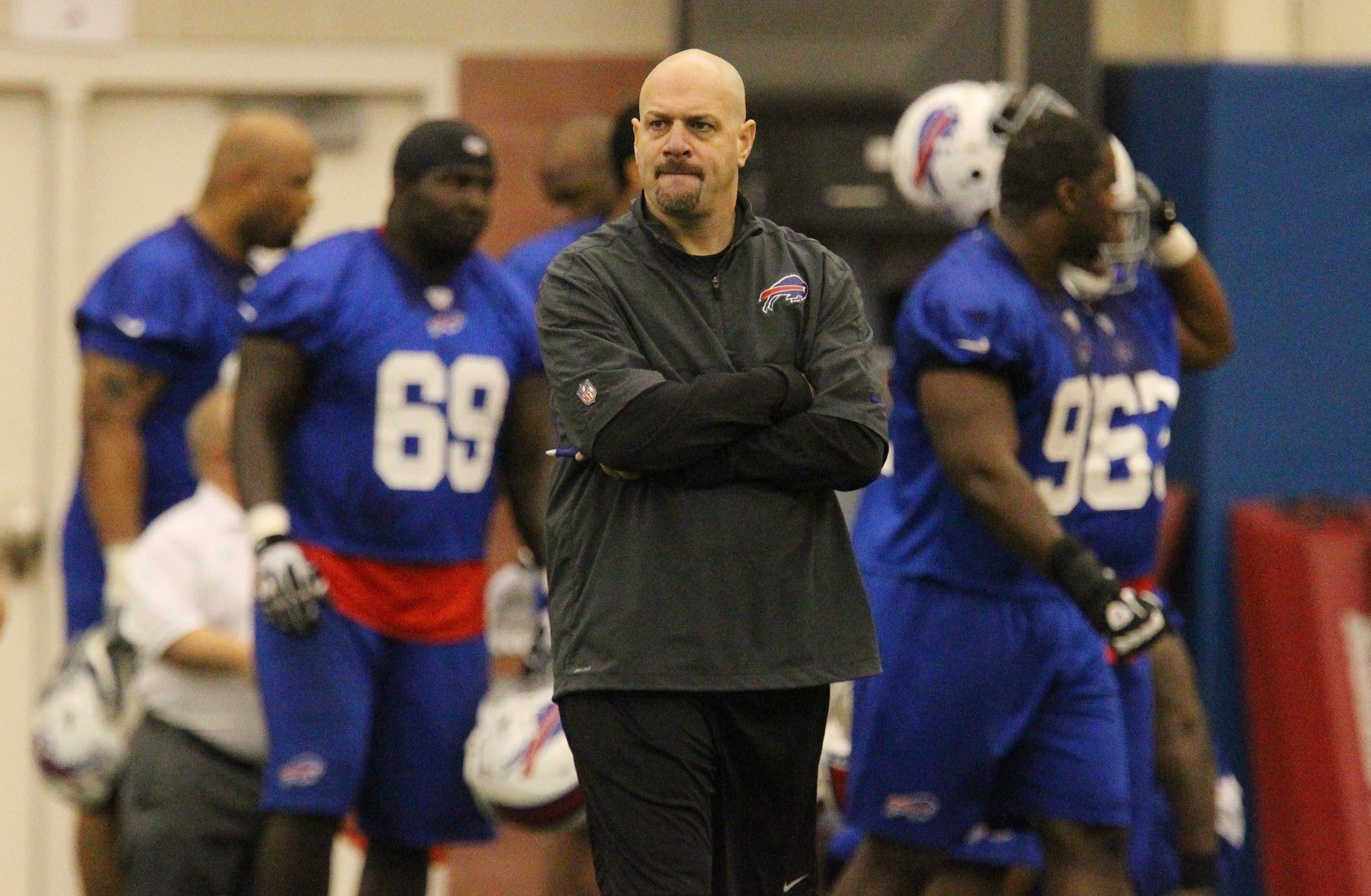 Bills defensive coordinator Mike Pettine is waiting to learn if the Cleveland Browns make him their next head coach.  Mark Mulville/Buffalo News