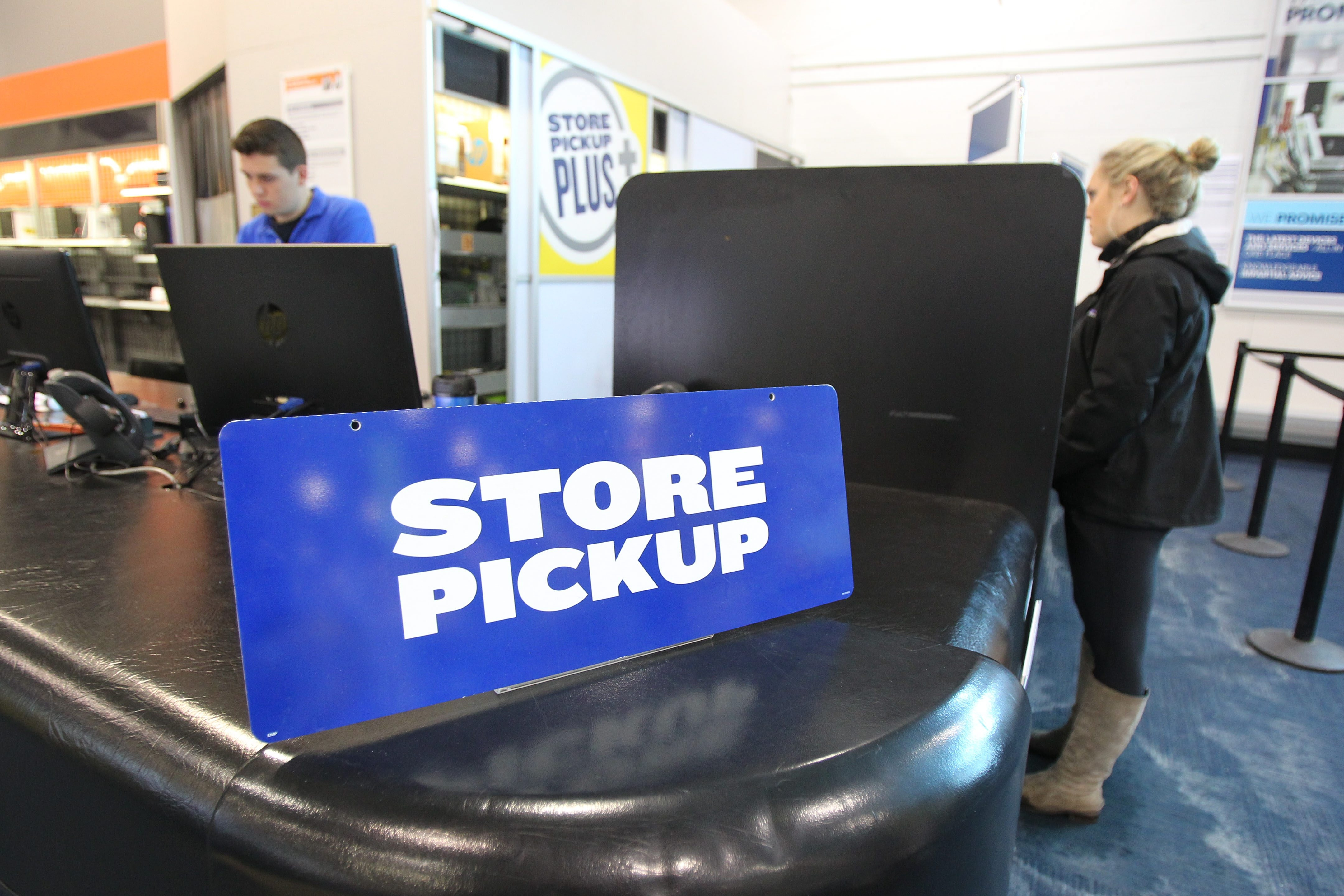 Best Buy is among the retailers allowing customers to buy products on its website and pick up in store, as seen above in a picture taken earlier this month in Amherst.