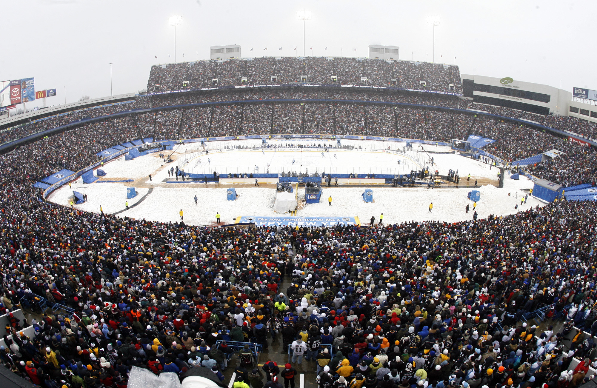 A crowd of more than 71,000 was on hand at Ralph Wilson Stadium in 2008 to watch the NHL's first Winter Classic. (Harry Scull Jr./Buffalo News)