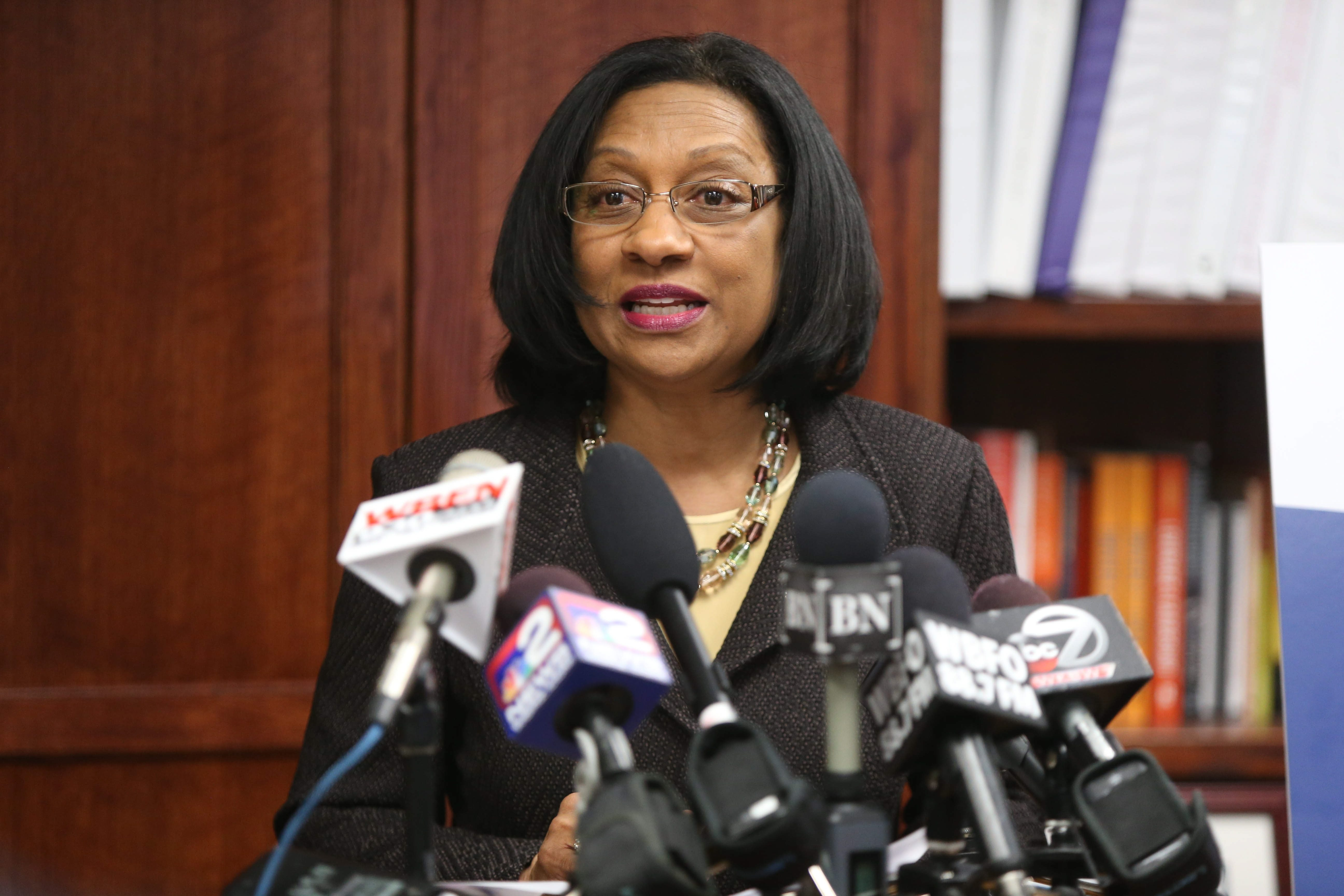 Buffalo Schools Superintendent Pamela Brown speaks at a press conference today about the Mary Guinn appointment.