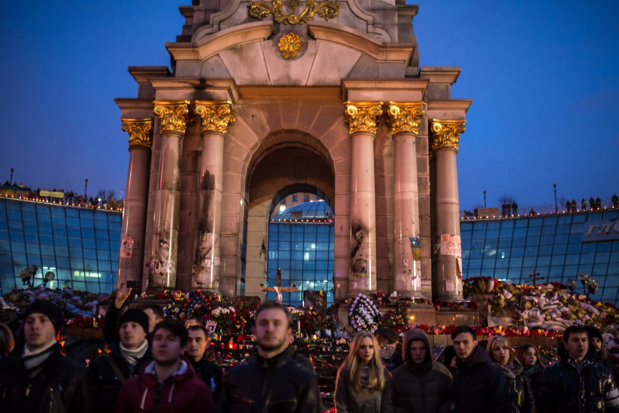 People gather to pray and to listen to speakers Sunday in Independence Square in Kiev, Ukraine.