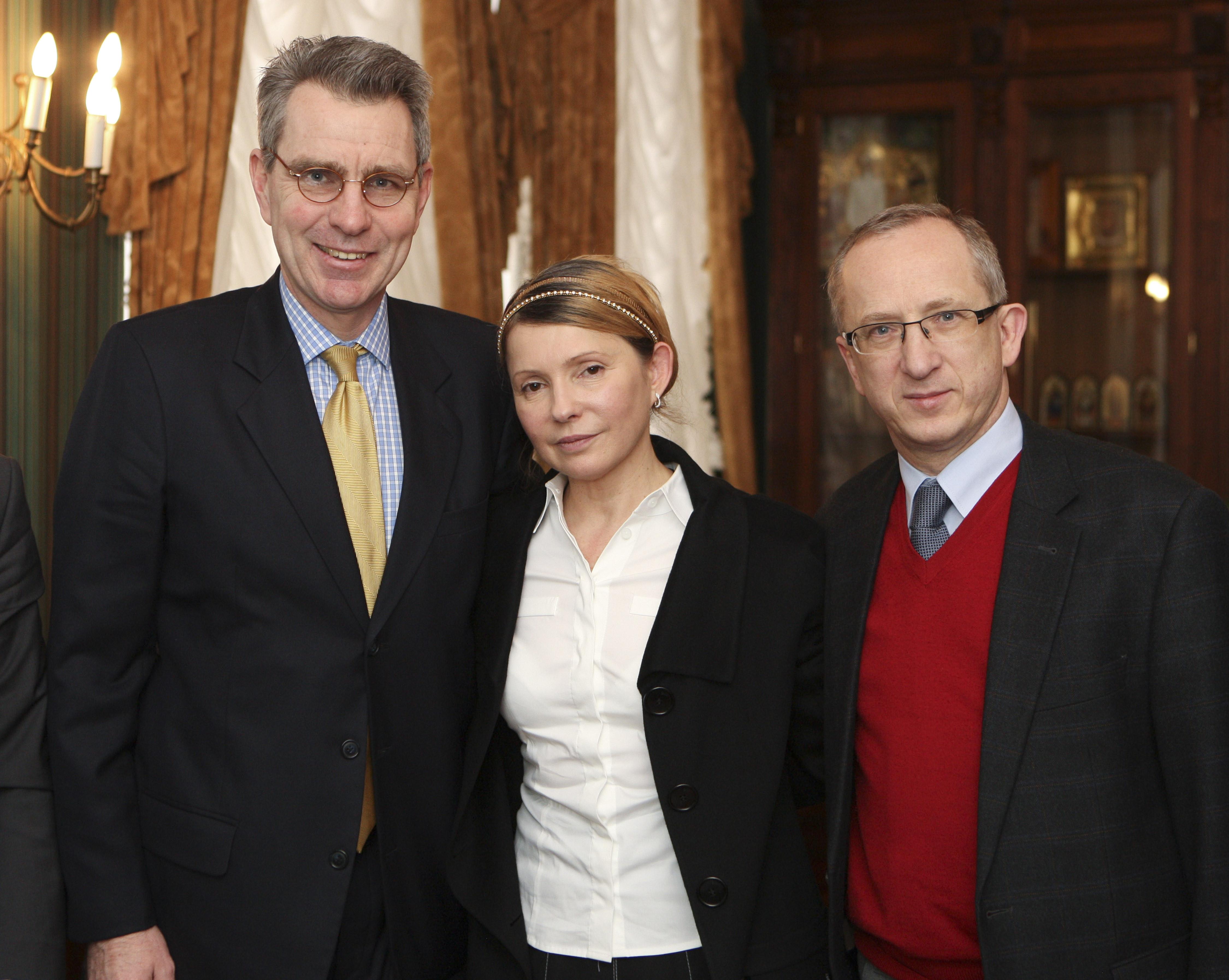 Top Ukrainian opposition figure Yulia Tymoshenko, released from prison Saturday after 930 days of captivity, meets Sunday  with U.S. Ambassador Geoffrey Pyatt, left, and EU Ambassador to Ukraine Jan Tombinski, right, in Kiev, Ukraine.