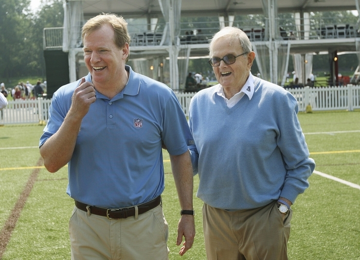 NFL Commissioner Roger Goodell,  left, would love to put a team back in Los Angeles, which lost the Rams and Raiders after the 1994 season. That worries Bills fans after the passing of owner Ralph C. Wilson Jr., right. (Photo courtesy Buffalo Bills.)