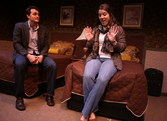 "Actors Adriano Gatto, left, as ""Guy"", and Meghan McAdam Gomez, as ""Sam"", rehearse a scene from the original play ""Some Girls"", at the New Pheonix Theatre in Buffalo, Sunday, January 26, 2014. (Charles Lewis/Buffalo News)"