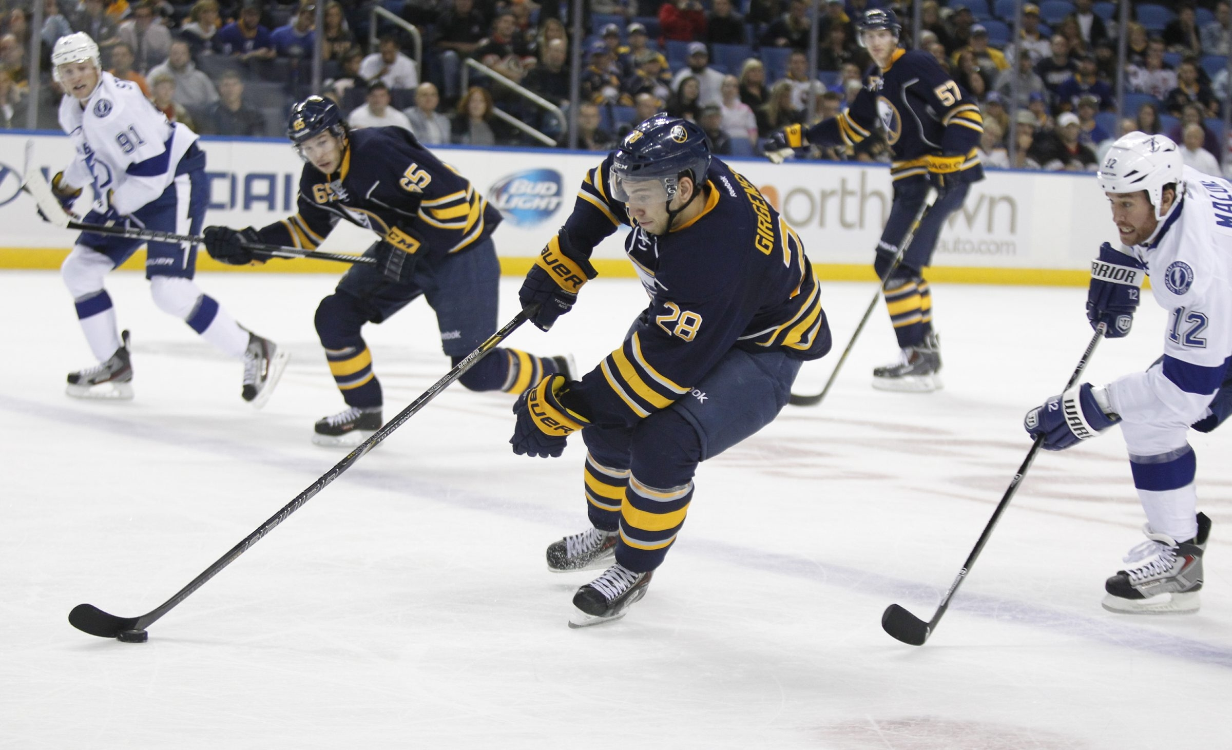 Zemgus Girgensons, returning after an 11-game absence, was a big presence against Tampa Bay on Saturday night.