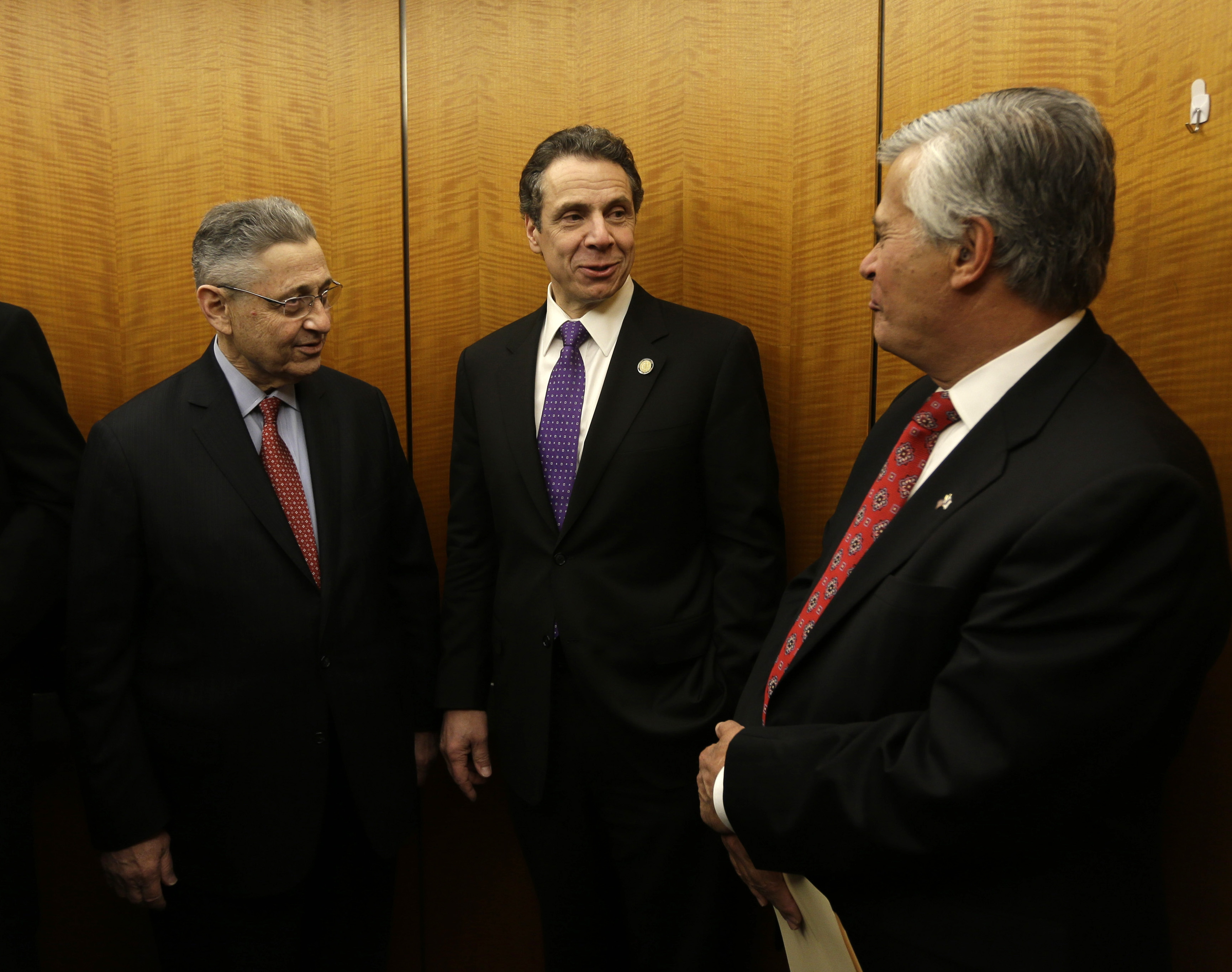 From left, Assembly Speaker Sheldon Silver, D-Manhattan; Gov. Andrew M. Cuomo; and State Senate co-leader Dean Skelos, R-Rockville Centre, are three of the four people behind the state budget deal reached Saturday. The fourth, State Sen. Jeff Klein, a Bronx Democrat, is not shown.