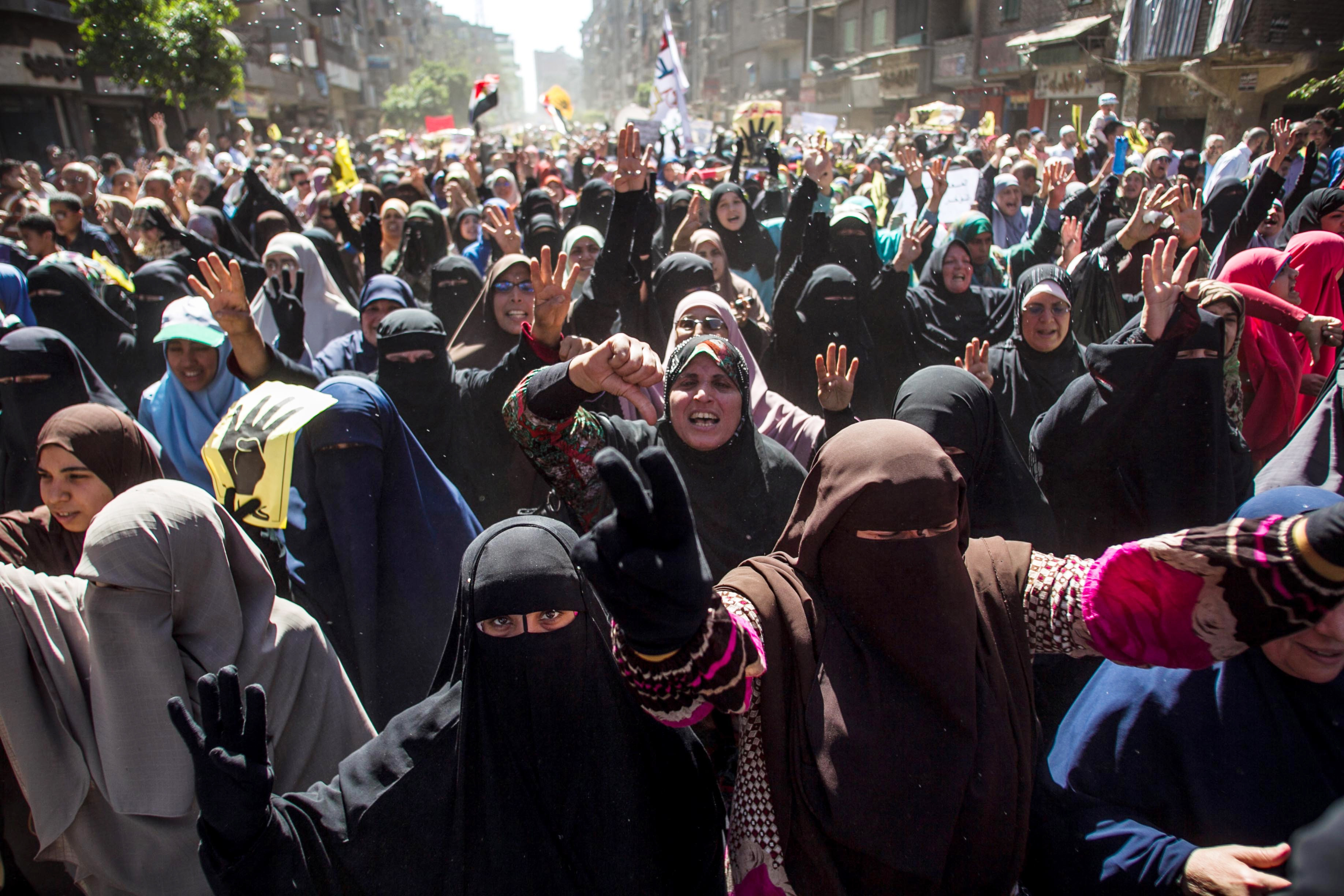 Supporters of Egypt's ousted President Mohamed Morsi protest the decision by former military chief Abdel-Fattah el-Sissi to run in the upcoming presidential election.