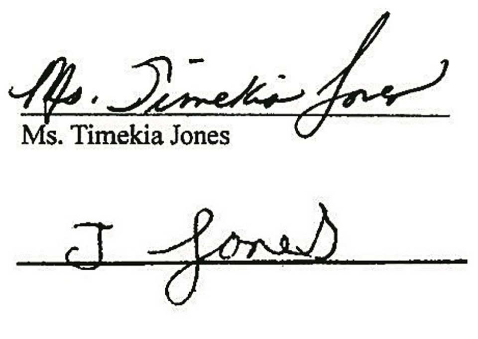 The real signature of Timekia Jones, above, with the signature the Buffalo School District said was 'disguised writing,' below.