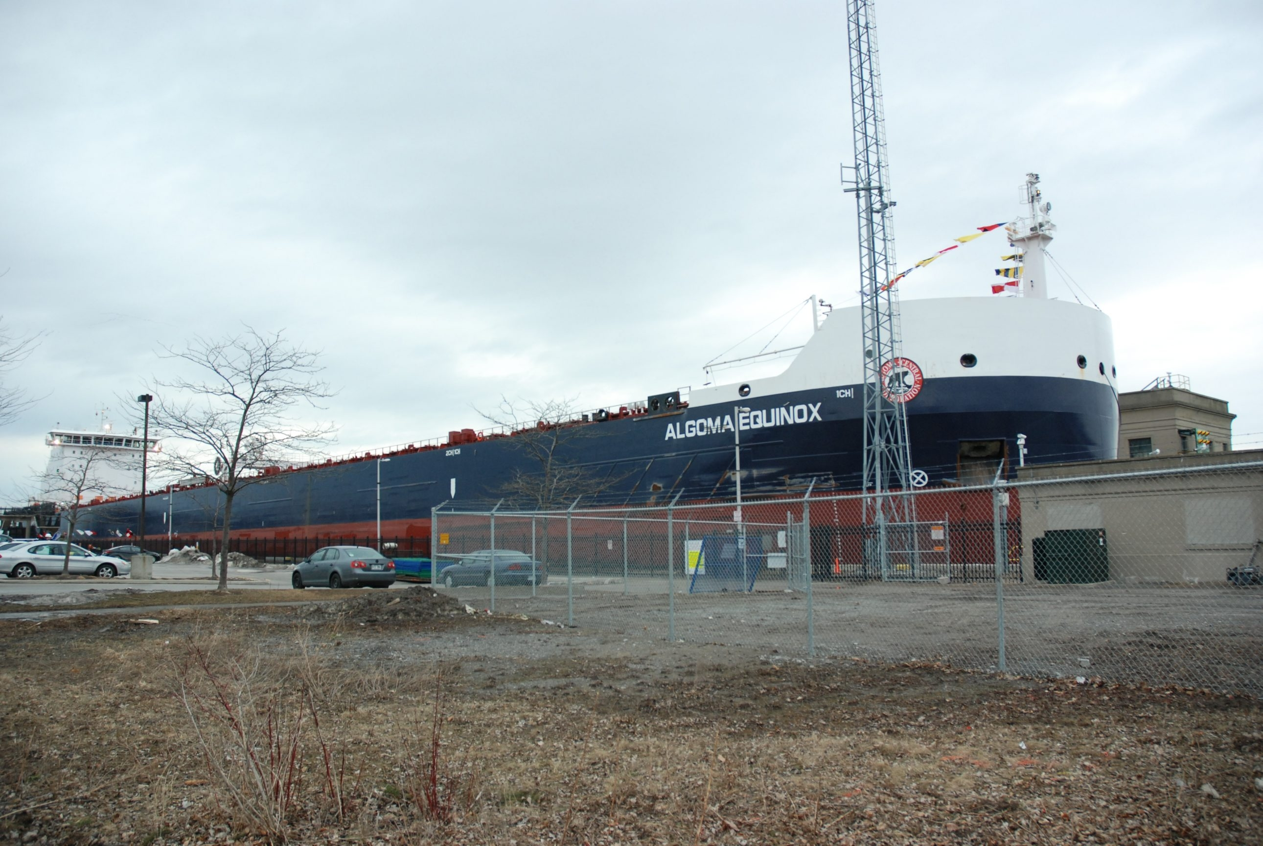 The Algoma Equinox arrives at Welland Canal Lock No. 3 in St. Cathariens, Ont., on  Friday. The first upbound vessel of the season had to remain in place because the ice in the lakes is making navigation impossible at this time.