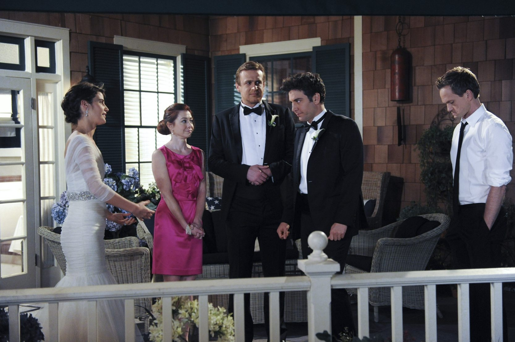 """The """"How I Met Your Mother"""" cast members, from left, Cobie Smulders as Robin, Alyson Hannigan as Lily, Jason Segel as Marshall, Josh Radnor as Ted and Neil Patrick Harris as Barney clicked from the beginning, nine years ago."""