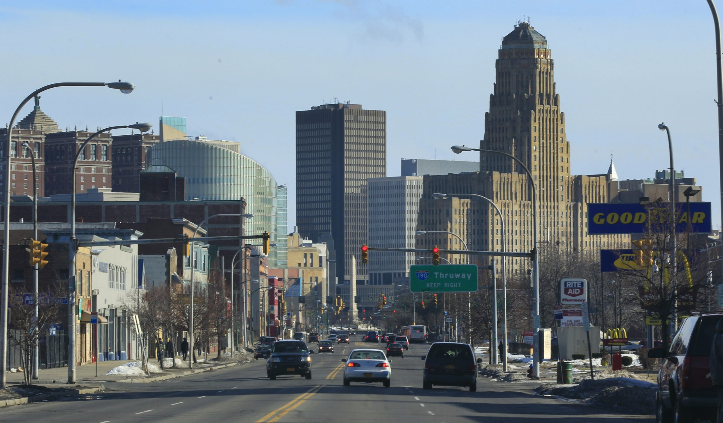 A general view of the Buffalo skyline looking down Niagara Street. New Census figures show that an influx of 2,499 immigrants to the Buffalo area outpaced the 1,937 American citizens who moved away.