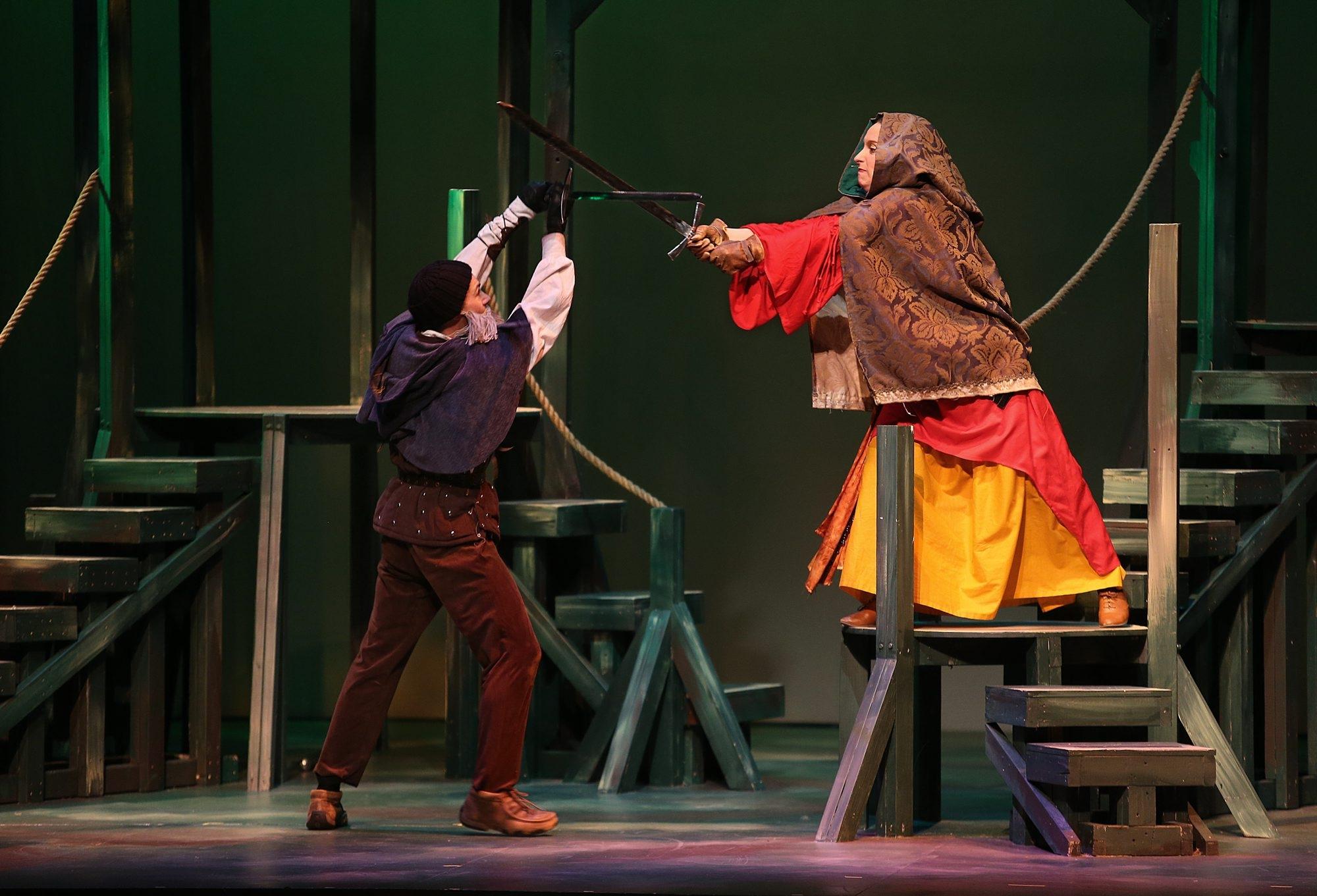 """Robin Hood (Adam Rath) and Marian (Megan Callahan) face off in """"Robin Hood."""""""