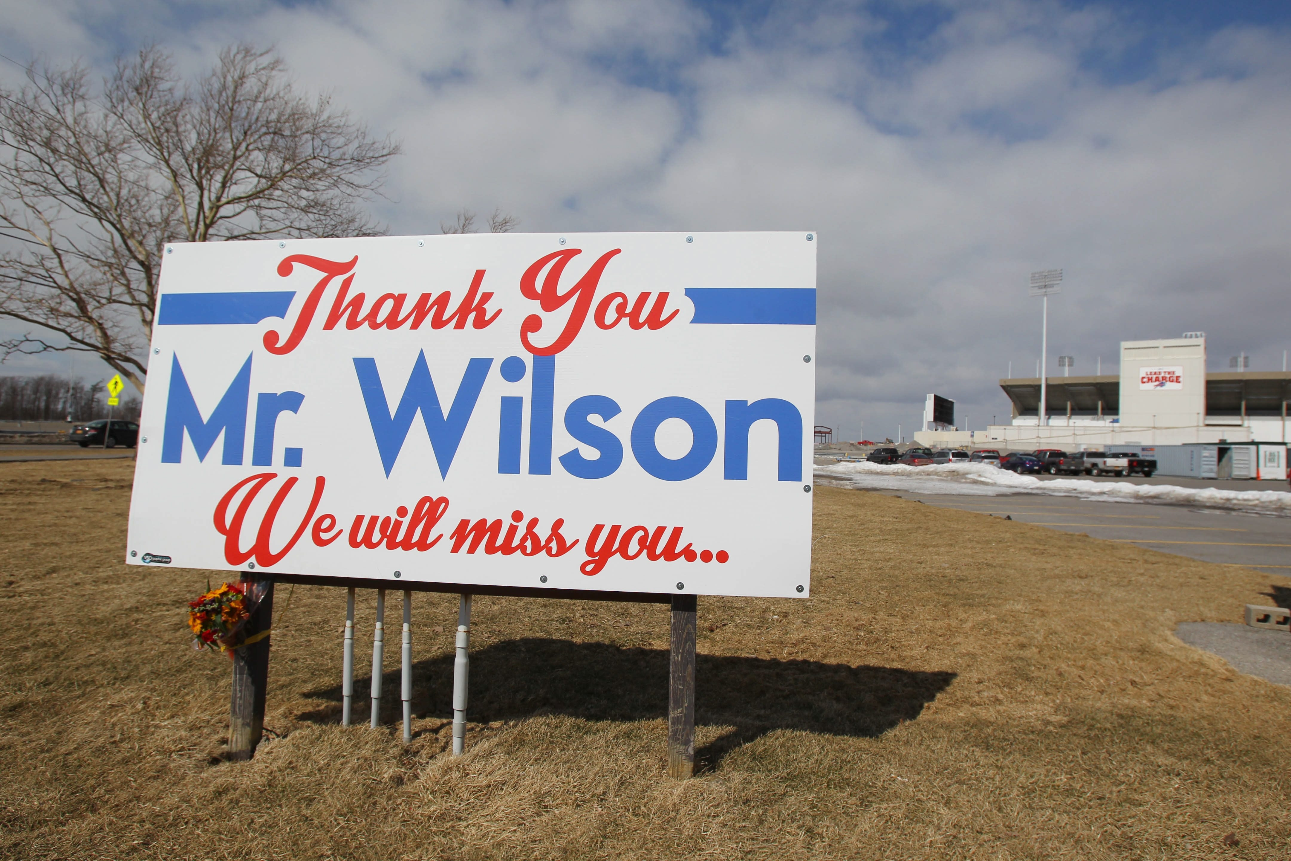 This sign was put up at the entrance of Ralph Wilson Stadium off Abbott Road in Orchard Park.