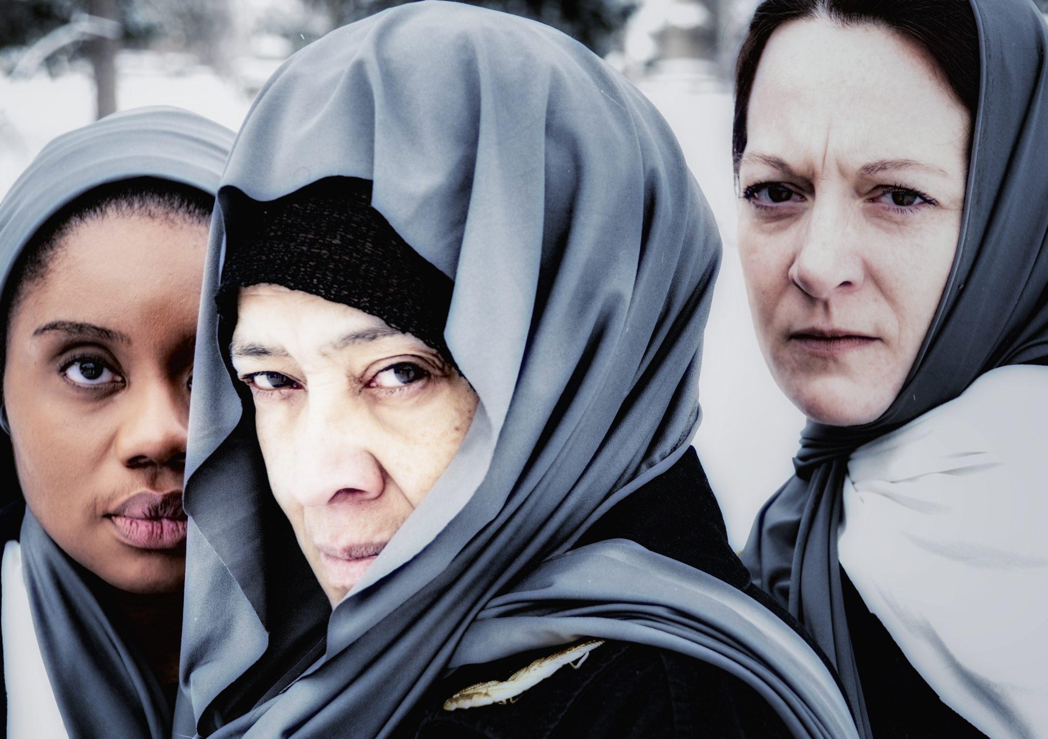 "Lorna Hill, center,  finds inner strength as Hecuba in ""The Trojan Women,"" opening tonight in TheatreLoft."